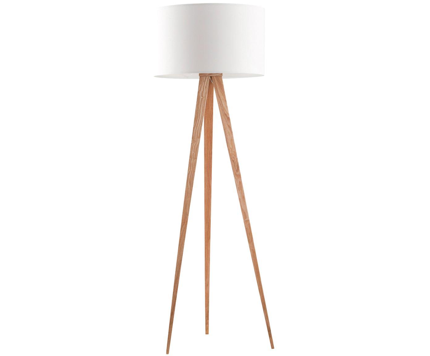 Lámpara de pie Tripod, Base de la lámpara: metal con chapa de roble, Pantalla: poliéster, Blanco, chapa de roble, Ø 50 x Al 157 cm