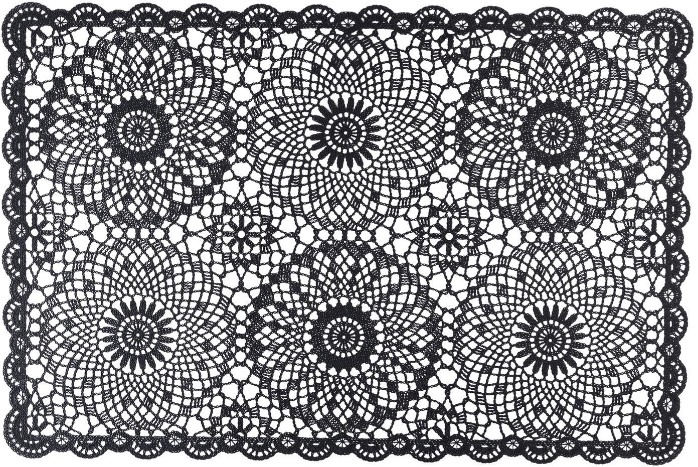 Manteles individuales Crochet, 4uds., Plástico (PVC), Negro, An 20 x L 35 cm