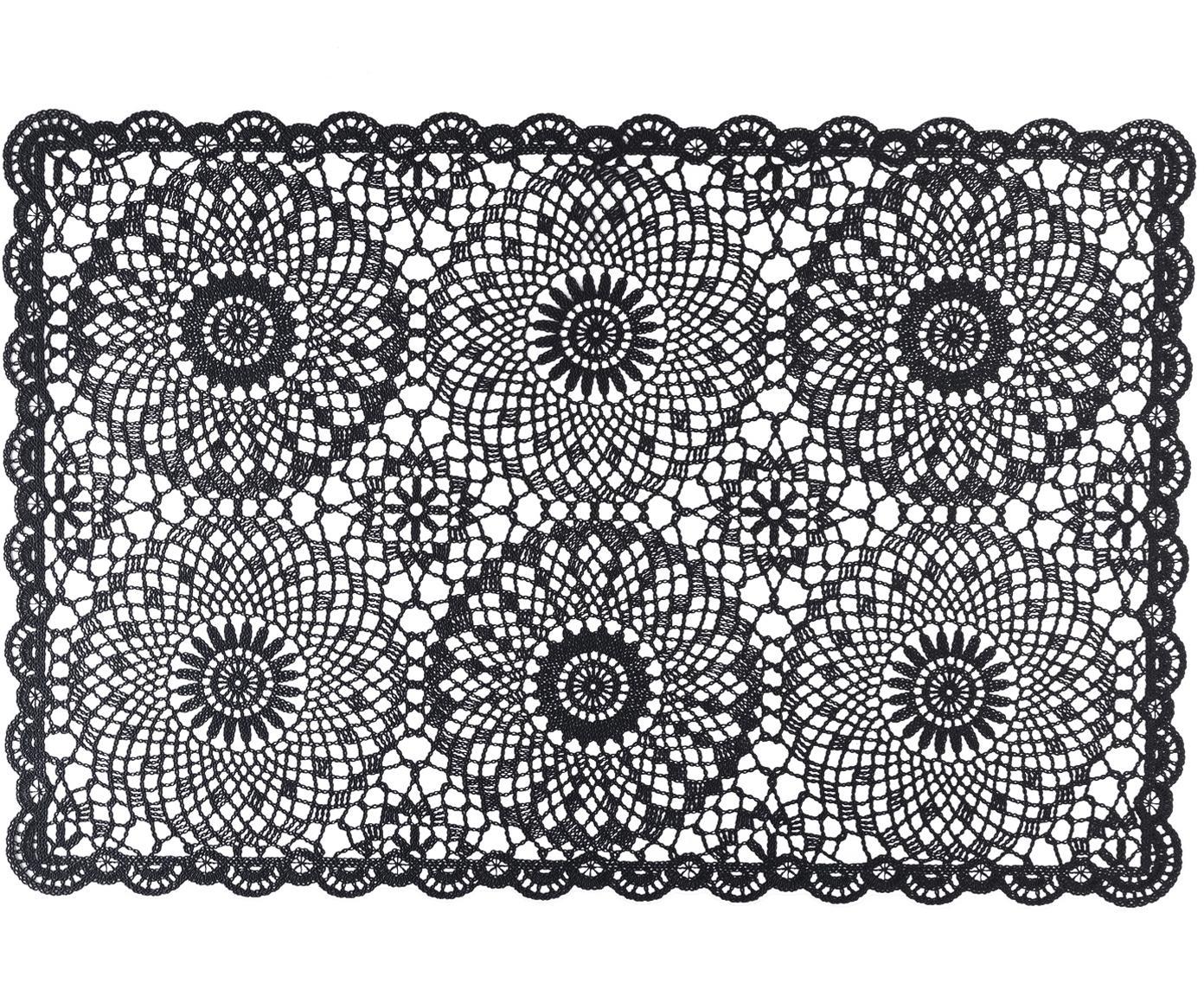 Podkładka z tworzywa sztucznego Crochet, 4 szt., Tworzywo sztuczne (PVC), Czarny, S 30 x D 45 cm