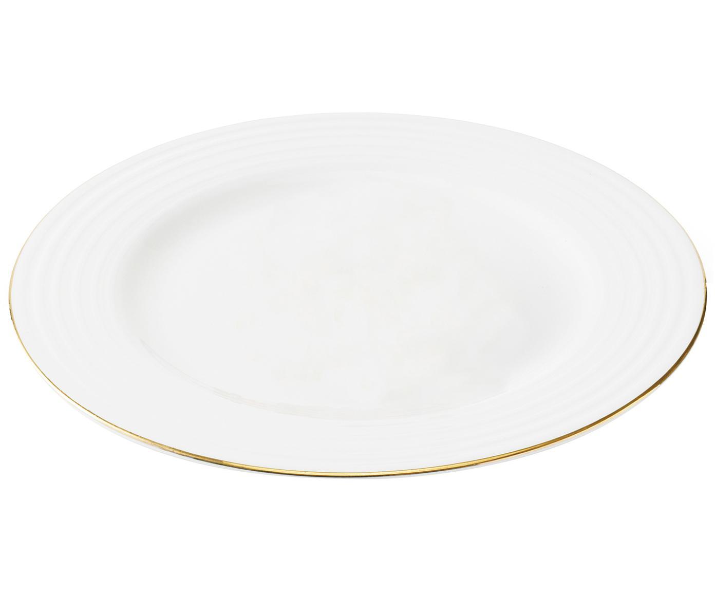 Speiseteller Cobald mit goldenem Rand und Rillenrelief, 4 Stück, Porzellan, Weiß, Goldfarben, Ø 28 cm