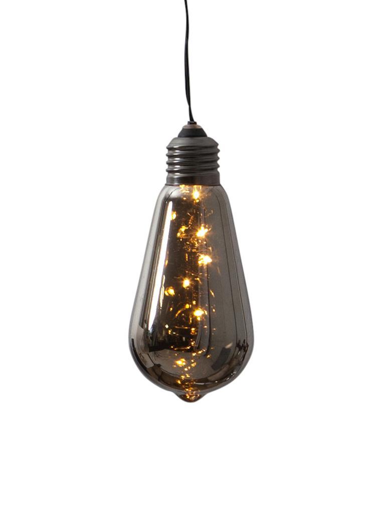 LED Dekoleuchte Glow, Lampenschirm: Glas, getönt, Schwarz, Ø 6 x H 13 cm