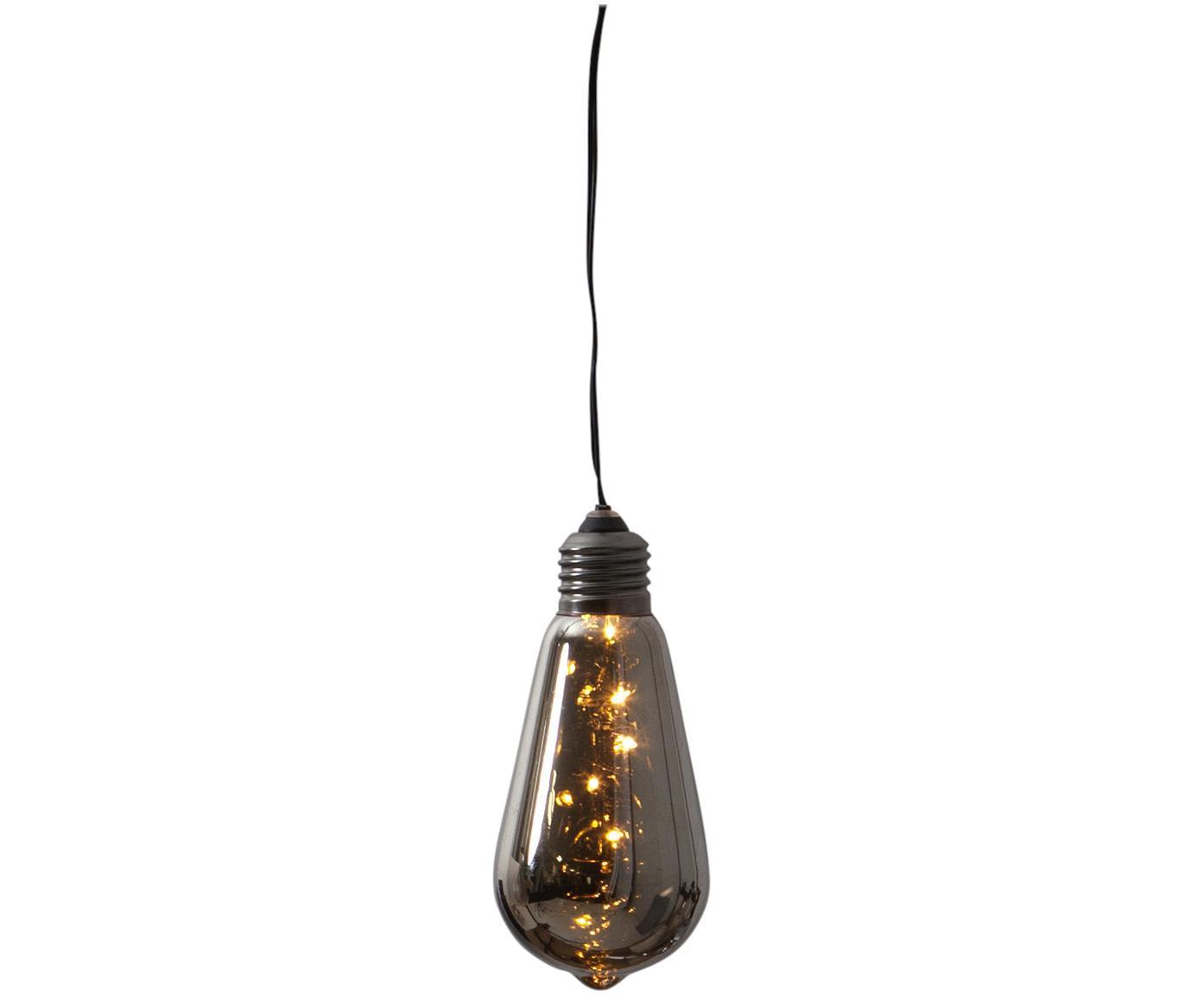 Decoratieve lamp Glow, Lampenkap: getint glas, Fitting: gecoat metaal, Zwart, Ø 6 x H 13 cm