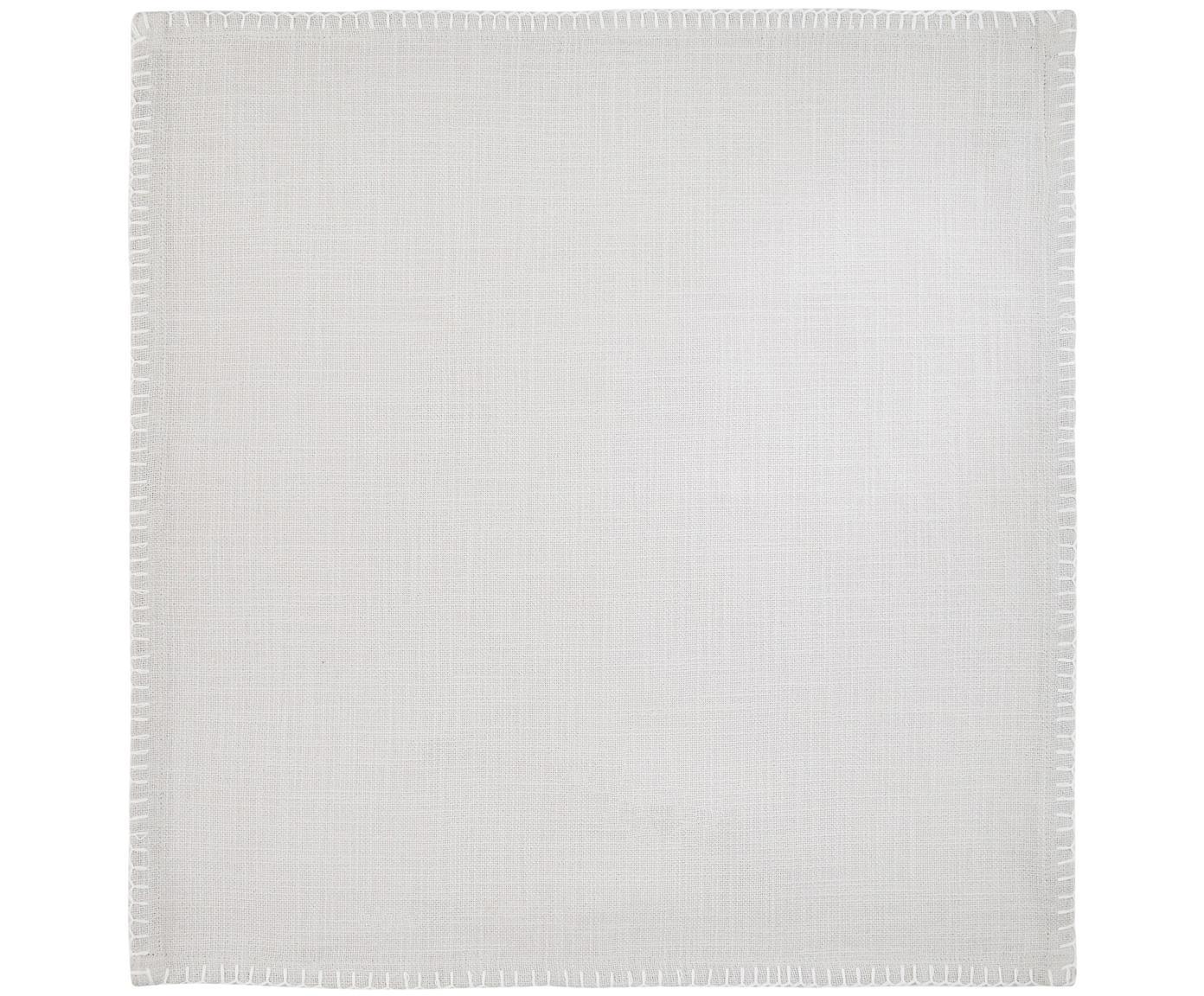 Katoenen servetten Finca, 2 stuks, Katoen, Grijs, 42 x 42 cm