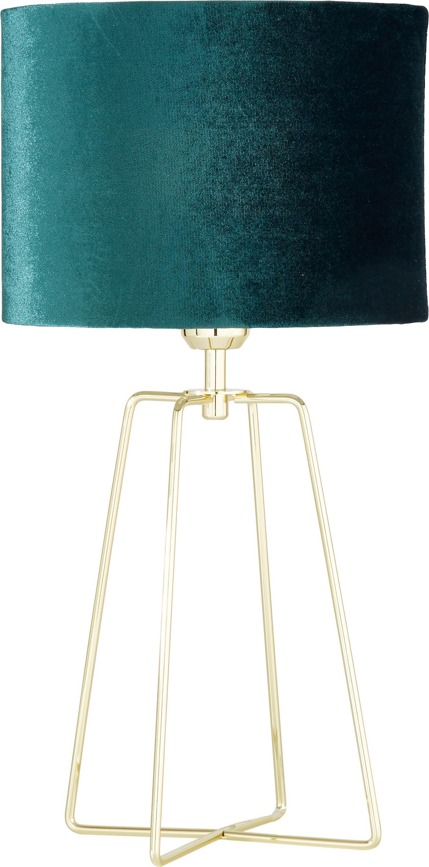 Lampa stołowa Karolina, Klosz: ciemny zielony Podstawa lampy: mosiądz, błyszczący Kabel: transparentny, Ø 25 x W 49 cm