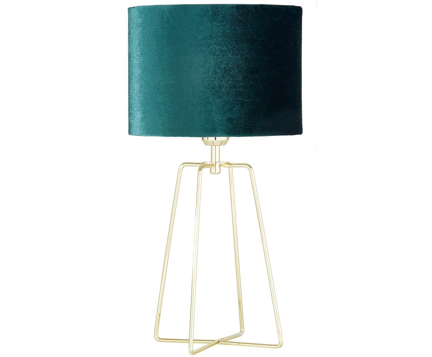 Tafellamp Karolina, Lampenkap: fluweel, Lampvoet: vermessingd metaal, Lampenkap: donkergroen lampvoet: messing, glanzend Snoer: transparant, Ø 25 x H 49 cm