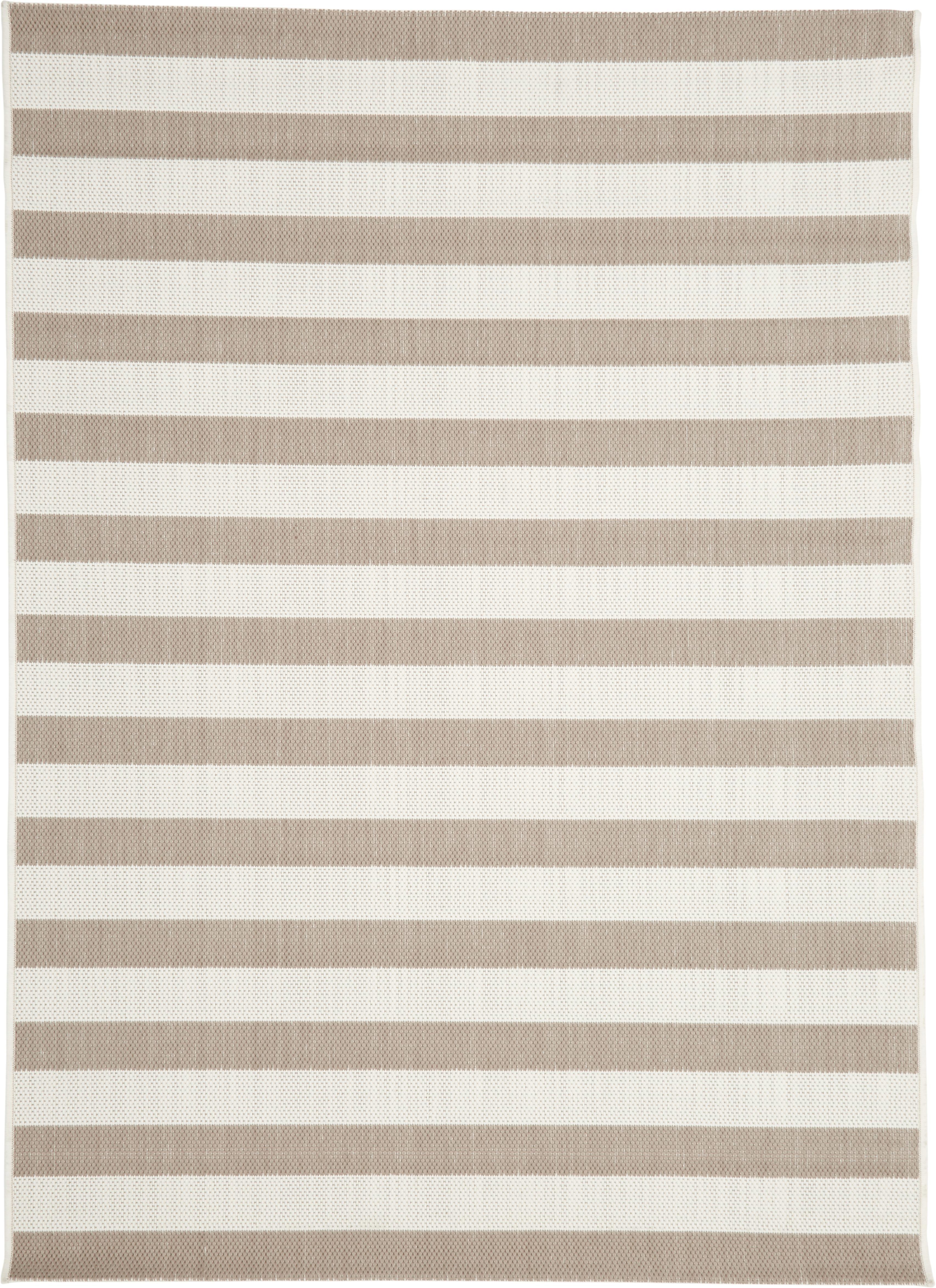 Gestreifter In- & Outdoor-Teppich Axa in Beige/Weiß, Flor: 100% Polypropylen, Cremeweiß, Beige, B 160 x L 230 cm (Größe M)