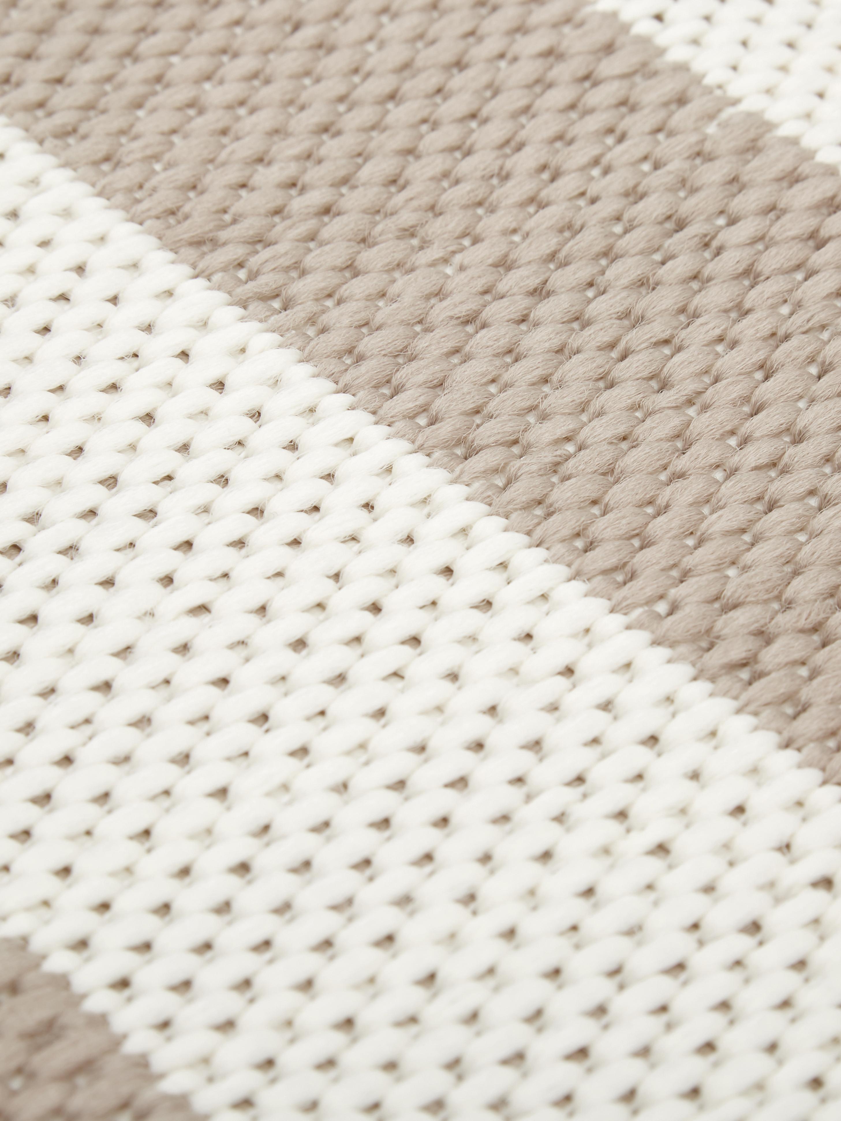 Gestreept in- & outdoor vloerkleed Axa in beige/wit, Bovenzijde: polypropyleen, Onderzijde: polyester, Crèmewit, beige, B 200 x L 290 cm (maat L)