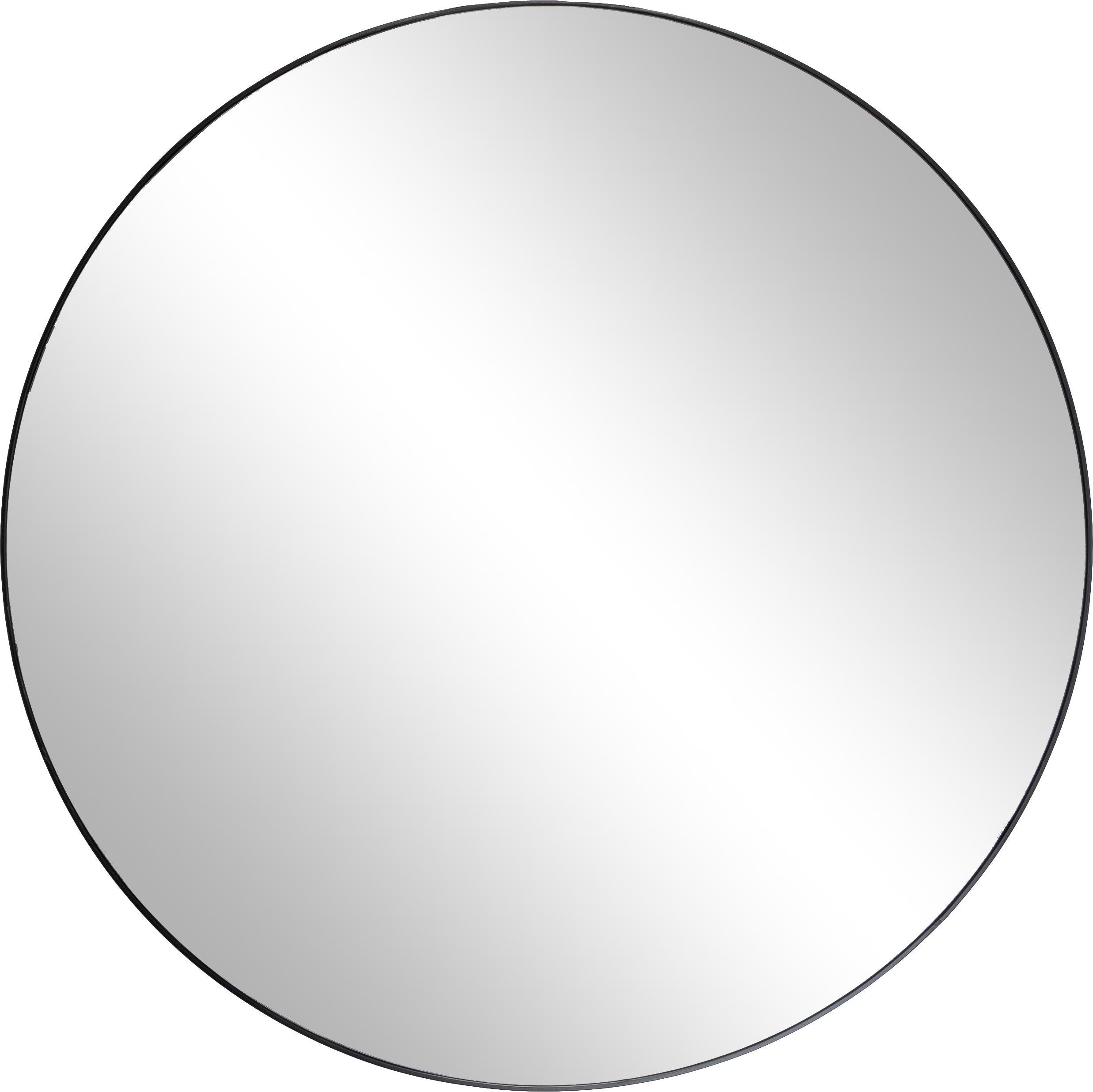 Ronde wandspiegel Complete met zwarte lijst, Frame: gelakt MDF, Zwart, Ø 100 cm