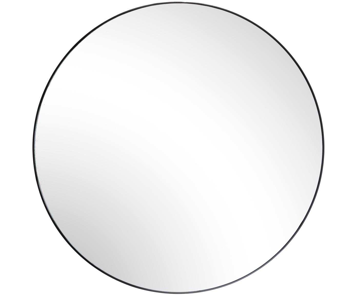 Specchio da parete rotondo Complete, Cornice: Pannello di fibra a media, Nero, Ø 100 cm