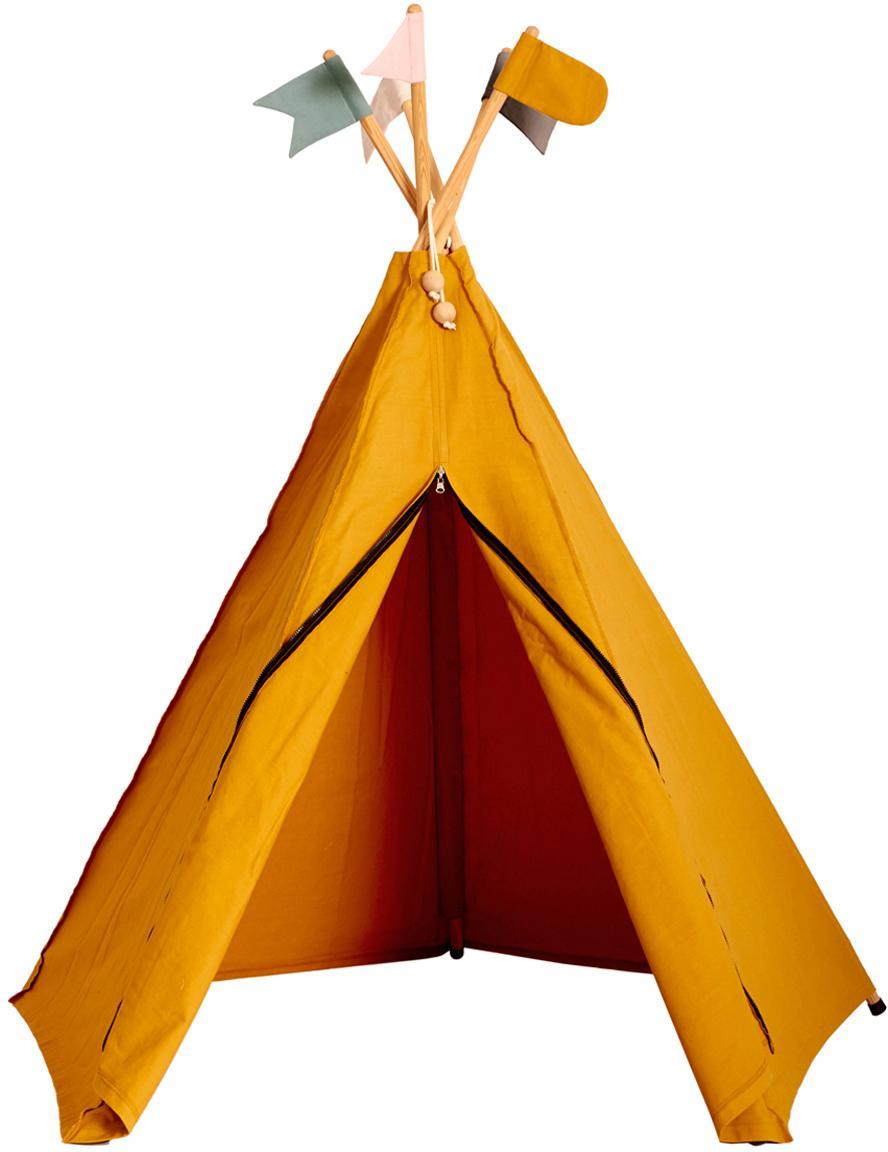 Tipi dla dzieci z bawełny organicznej Hippie, Bawełna organiczna, certyfikat GOTS, Brunatnożółty, S 135 x W 135 cm
