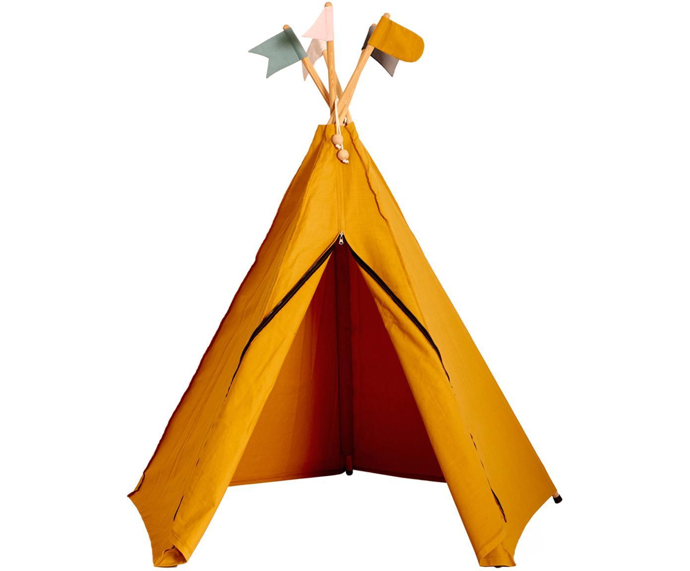 Tenda indiana teepee in cotone organico Hippie, Cotone organico, certificato GOTS, Giallo ocra, Larg. 135 x Alt. 135 cm