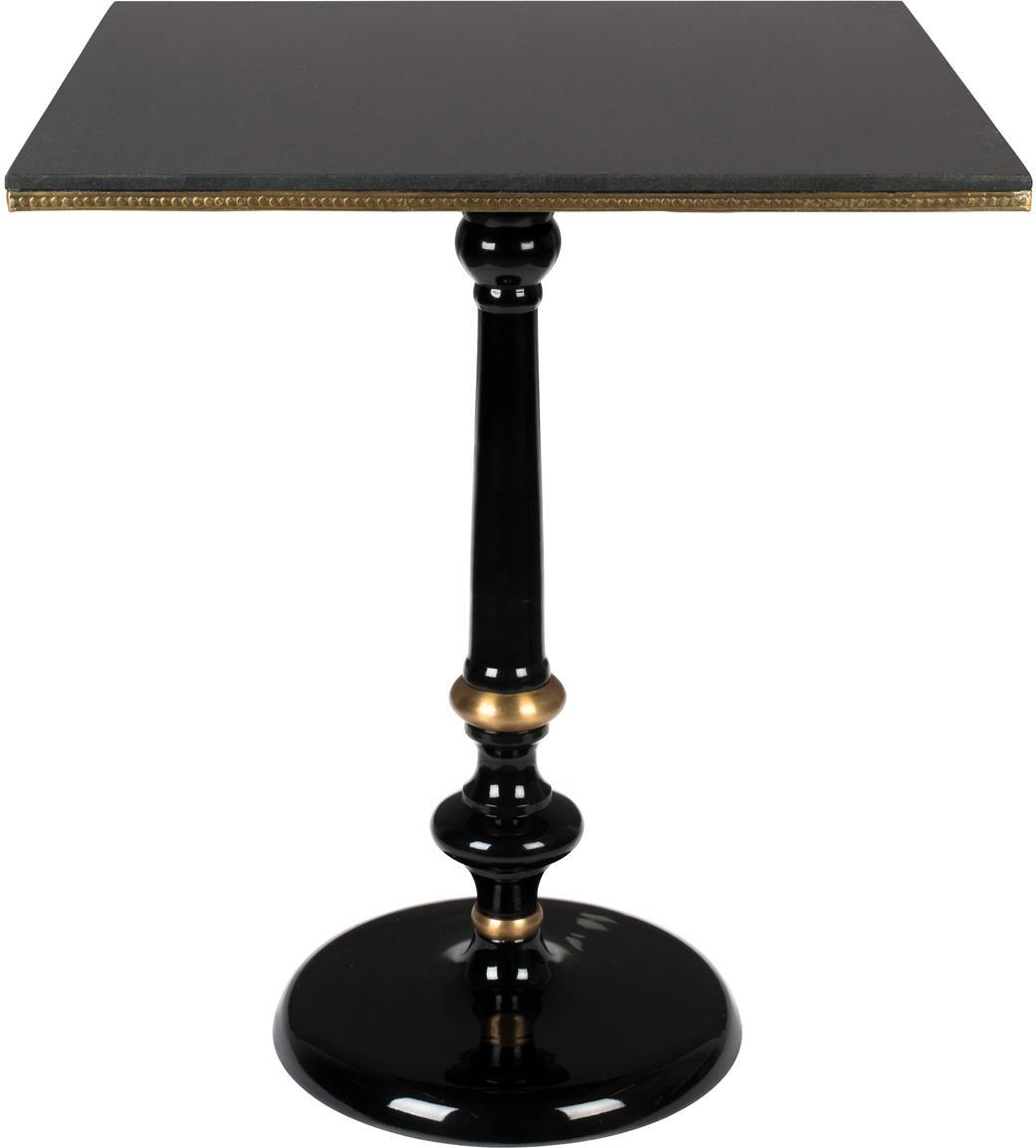 Granitstein-Esstisch Own The Glow, Tischplatte: Granitstein, Schwarz, Goldfarben, 65 x 76 cm