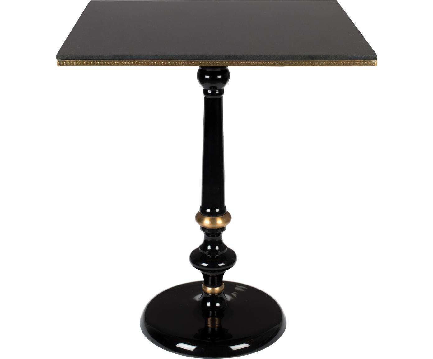 Mesa de comedor cuadrada Own The Glow, tablero de granito, Tablero: granito, Patas: aluminio con pintura en p, Negro, dorado, An 65 x Al 76 cm