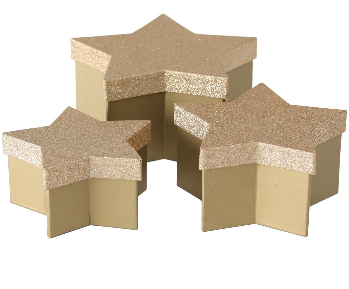 Komplet pudełek prezentowych Star, 3 elem., Papier, Odcienie złotego, Różne rozmiary