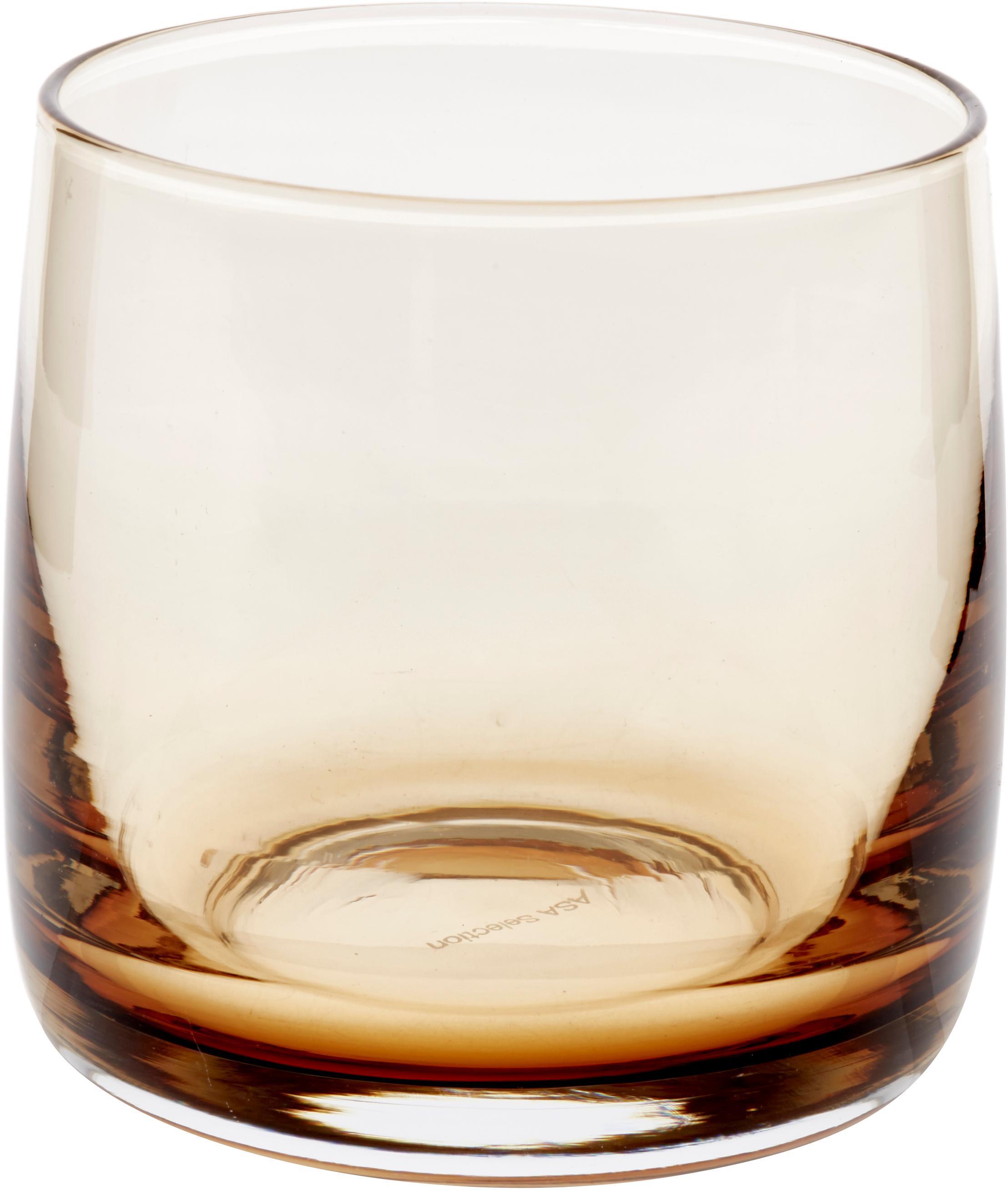 Handgefertigte Wassergläser Colored in Bernsteinfarben/Transparent, 6 Stück, Glas, Bernsteinfarben, transparent, Ø 8 x H 8 cm
