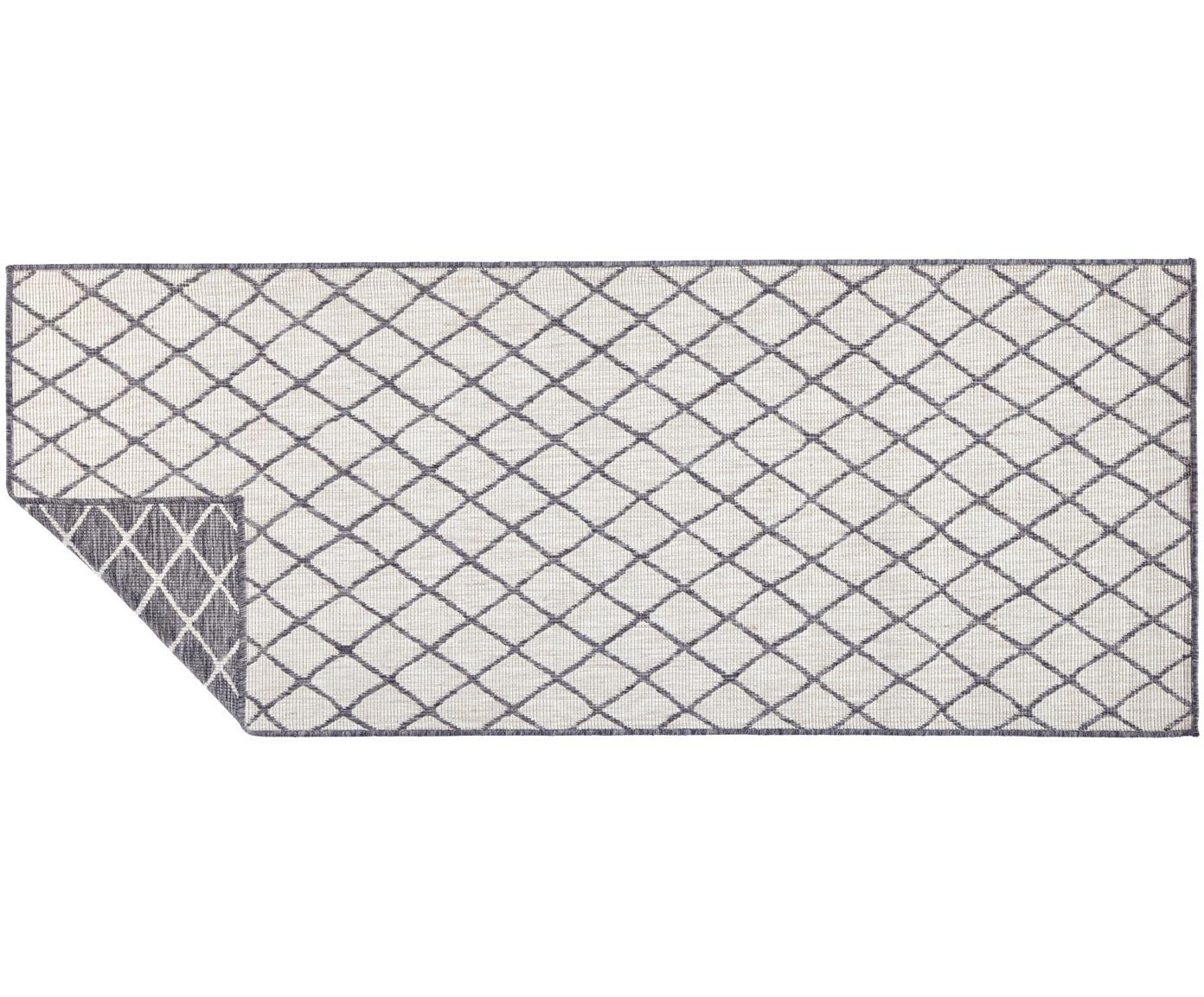 Alfombra reversible de interior/exterior Malaga, Gris, crema, An 80 x L 250 cm