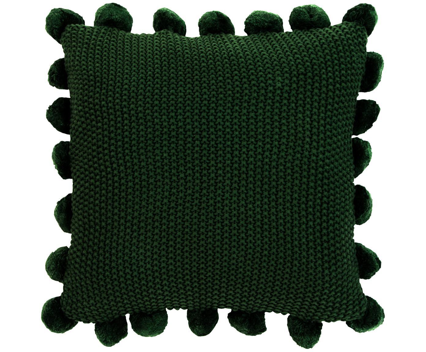 Poszewka na poduszkę ze skóry z dzianiny Molly, 100% bawełna, Ciemny zielony, S 40 x D 40 cm
