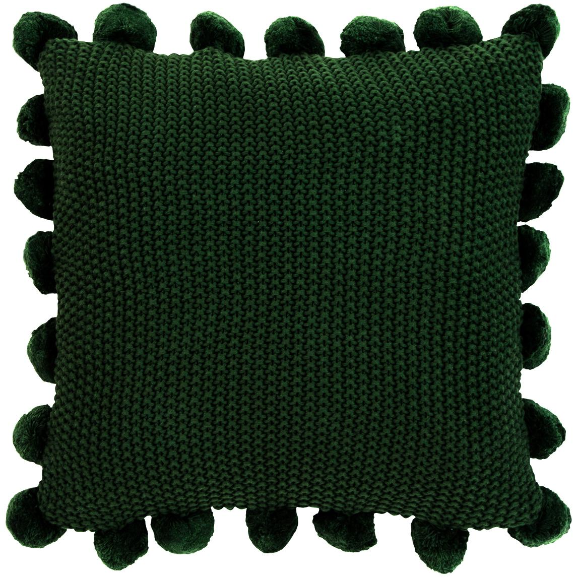 Funda de cojín de punto Molly, 100%algodón, Verde oscuro, An 40 x L 40 cm