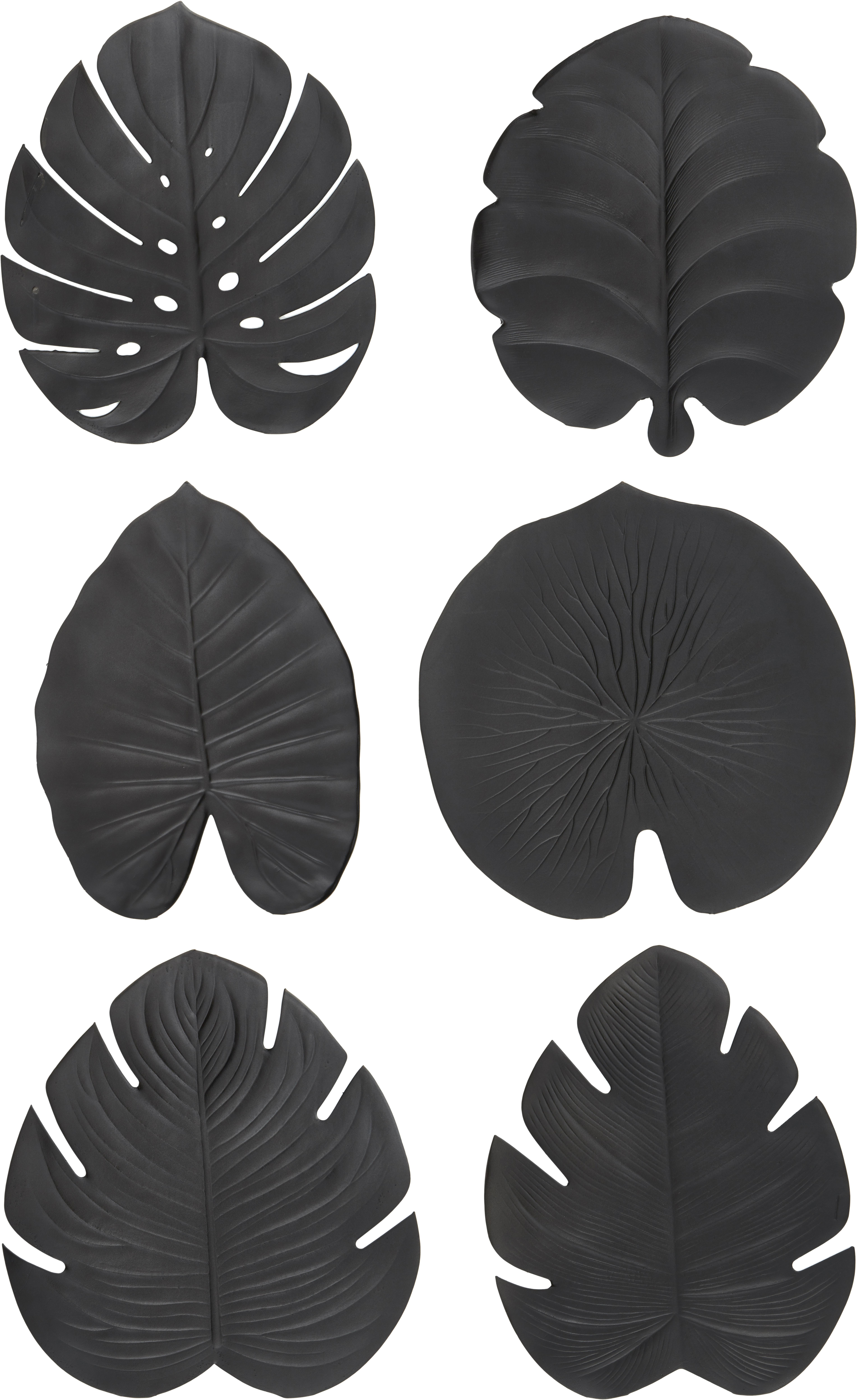 Kunststoffen placemats Jungle, 6-delig, Kunststof (PCV), Zwart, 37 x 47 cm
