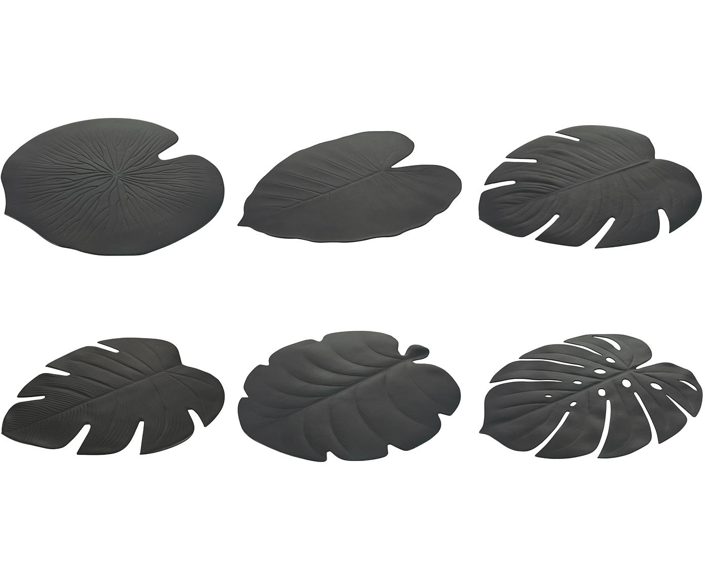 Komplet podkładek z tworzywa sztucznego Jungle, 6 elem., Tworzywo sztuczne (PCV), Czarny, S 37 x D 47 cm