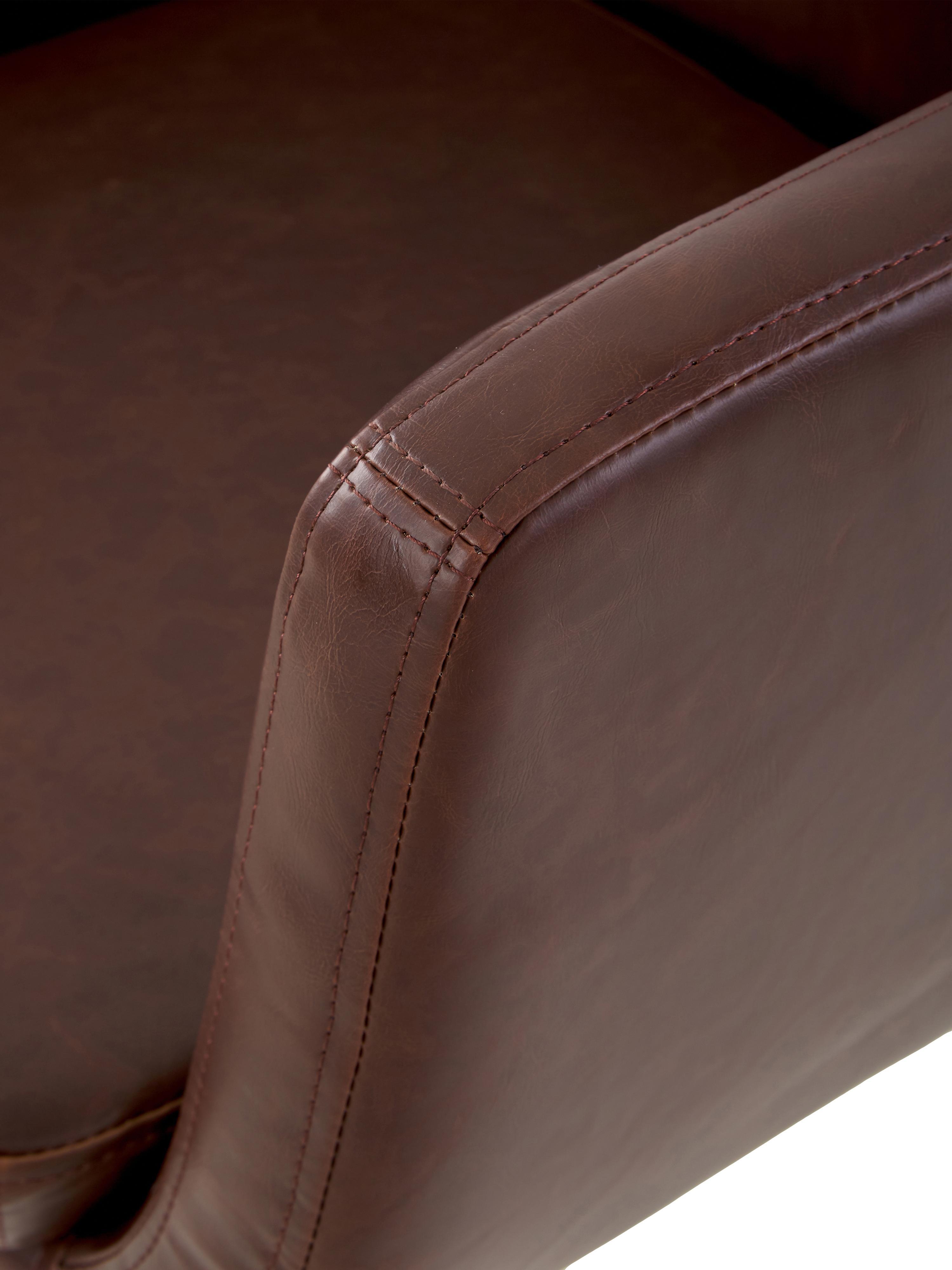 Kunstlederstuhl Nora mit Armlehne, Bezug: Kunstleder (Polyurethan), Beine: Eichenholz, Kunstleder Braun, Beine Dunkelbraun, B 56 x T 55 cm