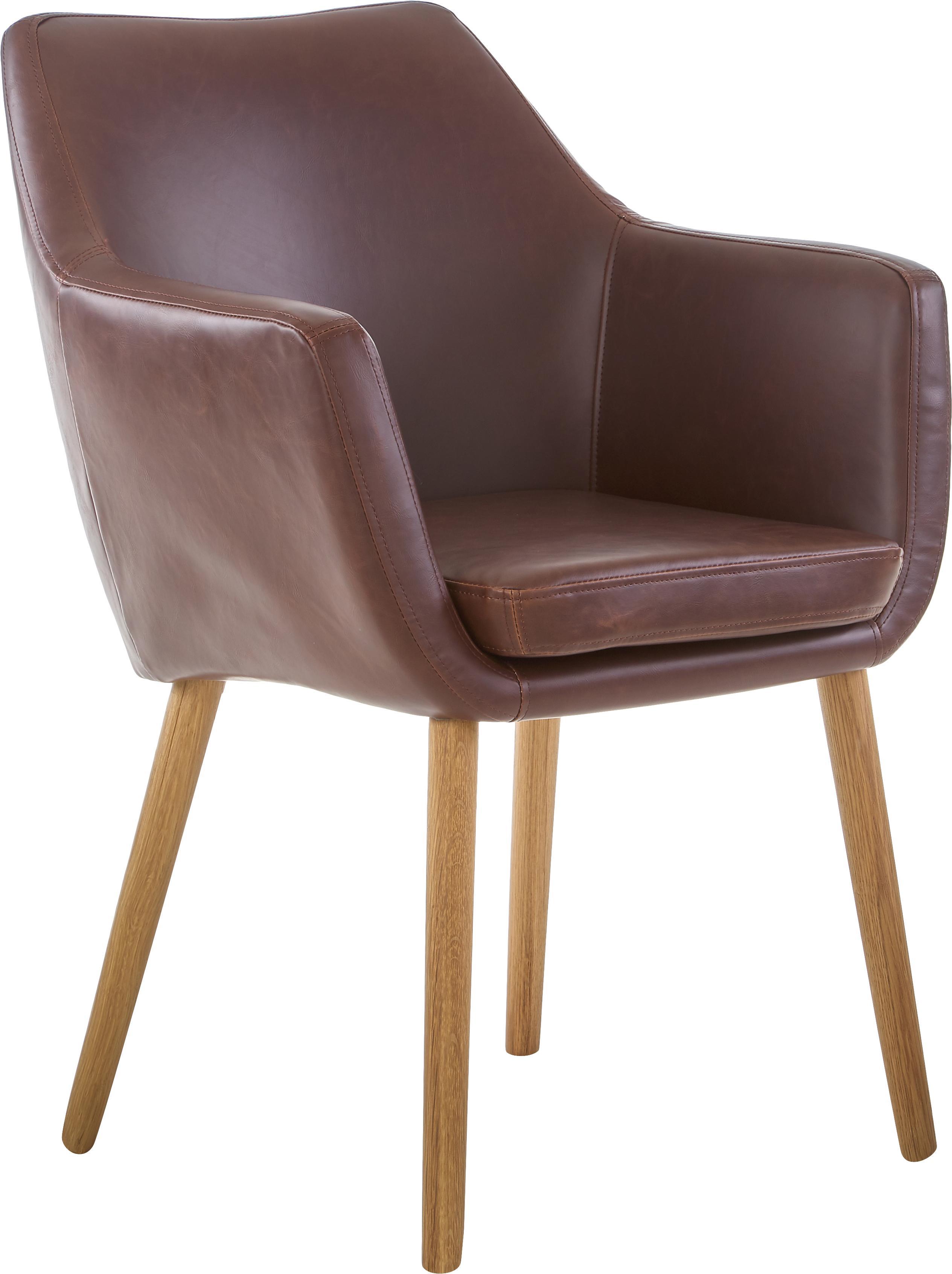 Kunstleren armstoel Nora, Bekleding: imitatieleer (polyurethaa, Poten: eikenhout, Bekleding: chocoladebruin. Frame: eikenhoutkleurig, B 56 x D 55 cm