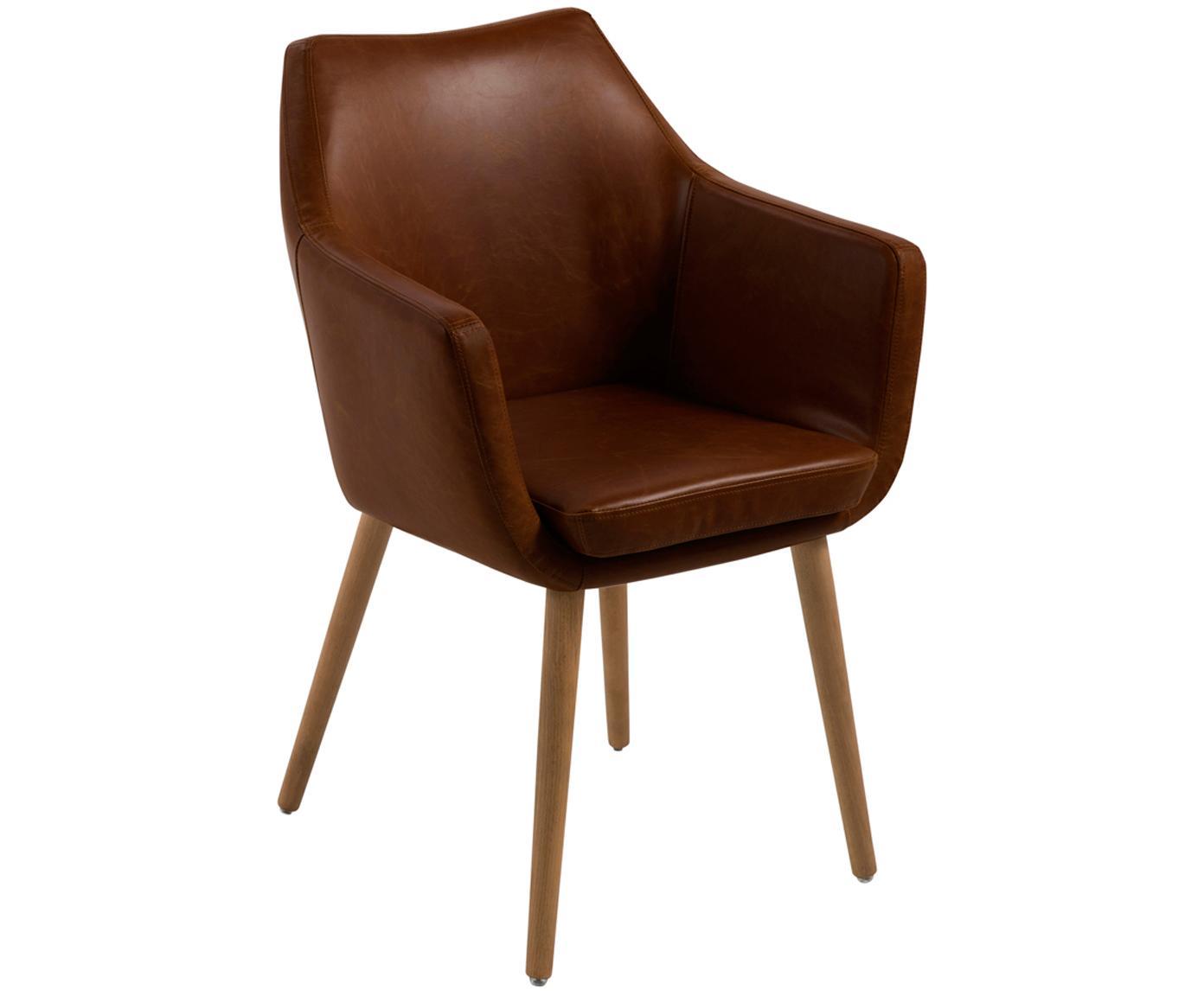 Sedia con braccioli  Nora, Rivestimento: pelle ecologica (poliuret, Gambe: legno di quercia, Similpelle marrone, gambe marrone scuro, Larg. 56 x Prof. 55 cm