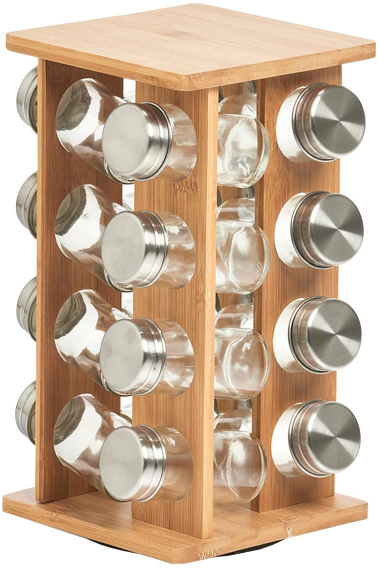 Bamboe kruidenrek Dahle, 17-delig, Bamboe, glas, edelstaal, Bamboehoutkleurig, transparant, zilverkleurig, 18 x 30 cm