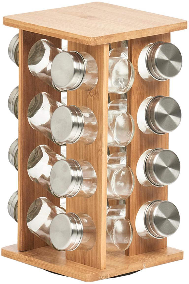 Set porta spezie in bambù Dahle 17 pz, Bambù, vetro, acciaio inossidabile, Bambù, trasparente, argento, Larg. 18 x Alt. 30 cm