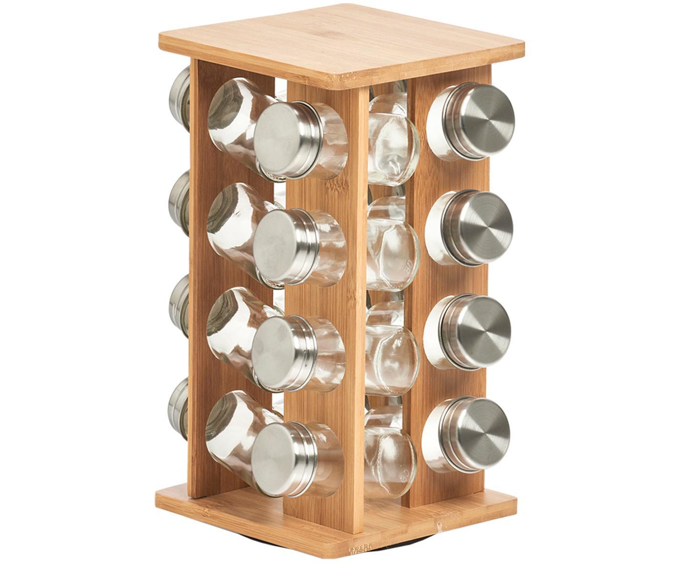 Stojak na przyprawy z drewna bambusowego Dahle, 17 elem., Drewno bambusowe, transparentny, odcienie srebrnego, S 18 x W 30 cm