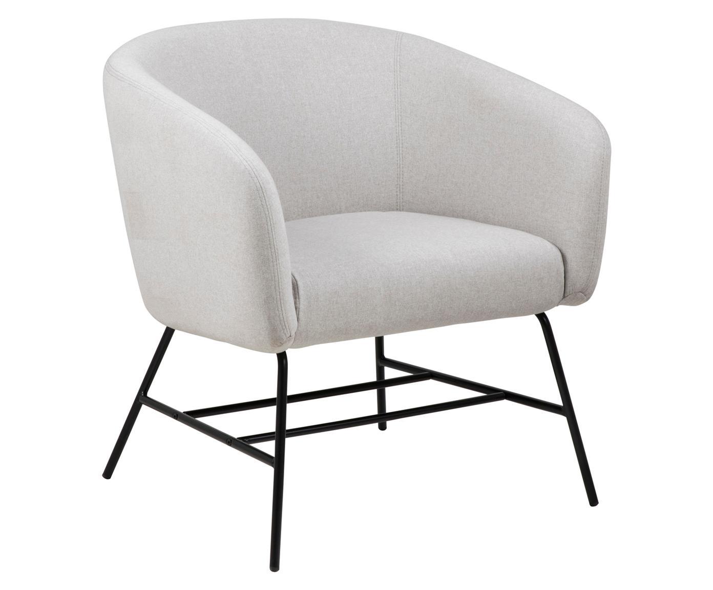 Moderne fauteuil Ramsey in lichtgrijs, Bekleding: polyester, Poten: gepoedercoat metaal, Bekleding: lichtgrijs. Poten: zwart, B 72 x D 67 cm