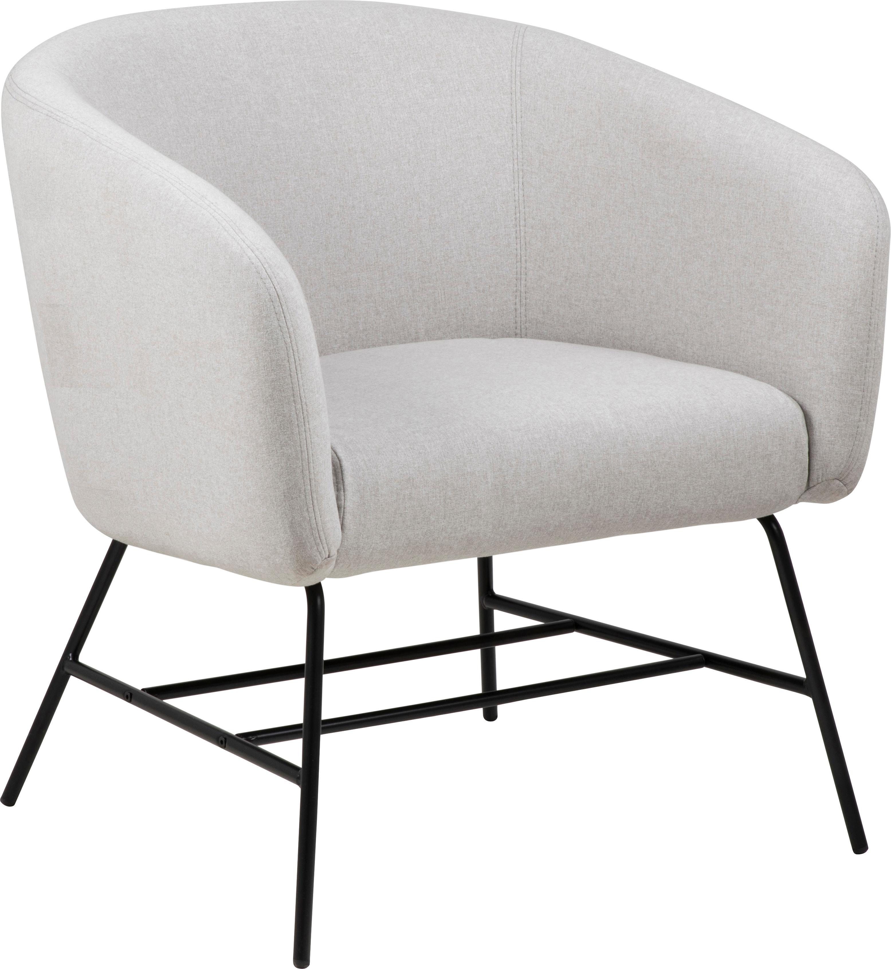 Moderne fauteuil Ramsey in lichtgrijs, Bekleding: polyester, Poten: gepoedercoat metaal, Geweven stof lichtgrijs, B 72 x D 67 cm