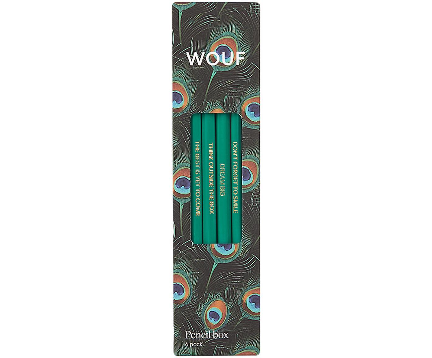 Bleistift-Set Peacock, 6-tlg., Holz, Schwarz, Mehrfarbig, Grün, 18 x 5 cm