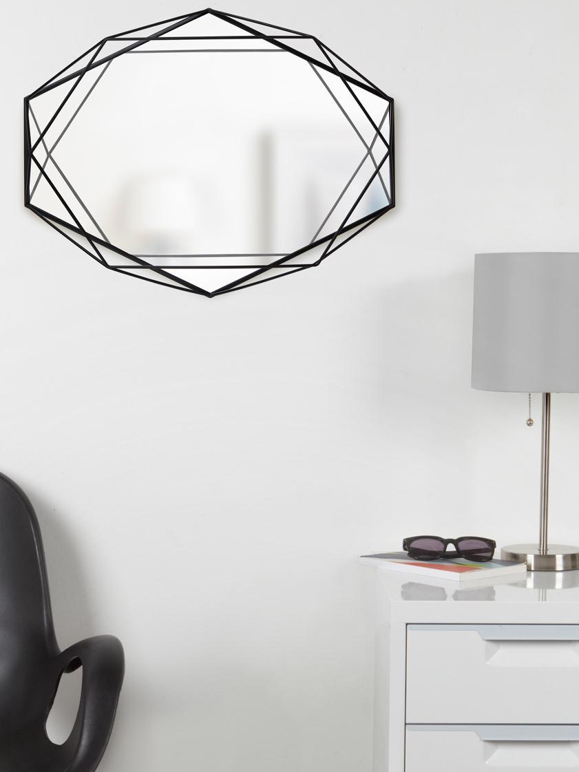 Ovaler Wandspiegel Prisma mit schwarzem Metallrahmen, Rahmen: Stahl, lackiert, Spiegelfläche: Spiegelglas, Schwarz, 43 x 57 cm