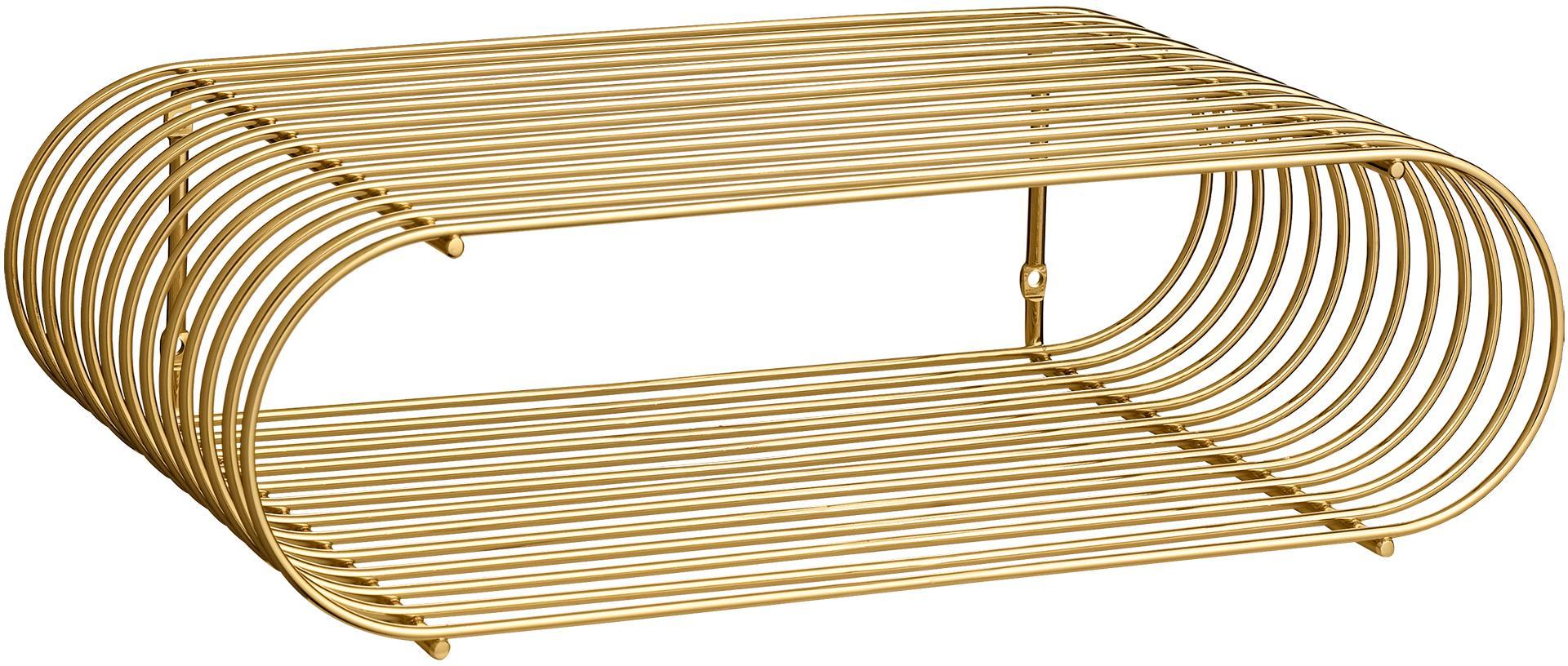 Kleines Wandregal Curve aus Metall, Metall, vermessingt, Goldfarben, 40 x 12 cm