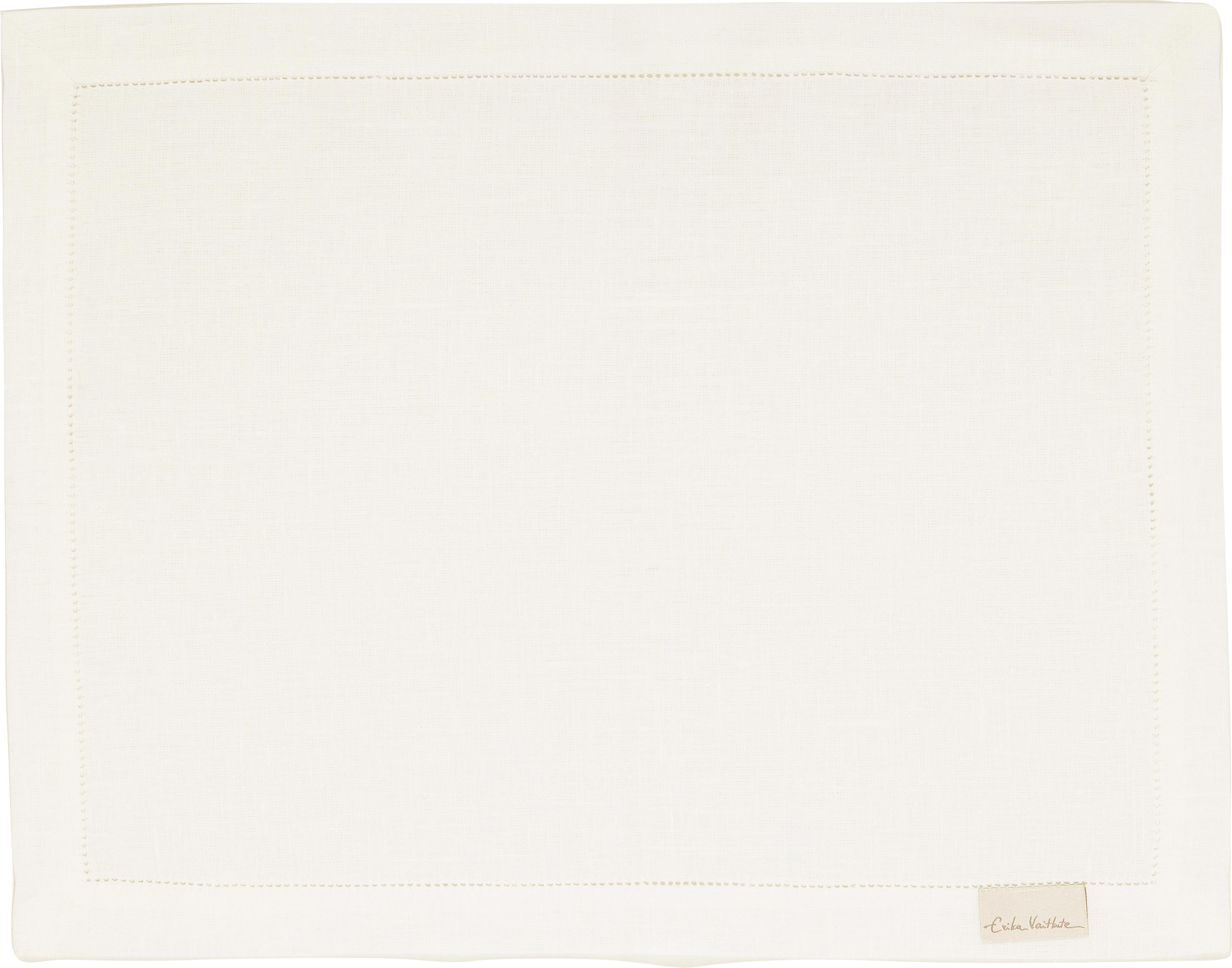 Linnen placemats Alanta met open zoom, 6 stuks, Wit, 38 x 50 cm