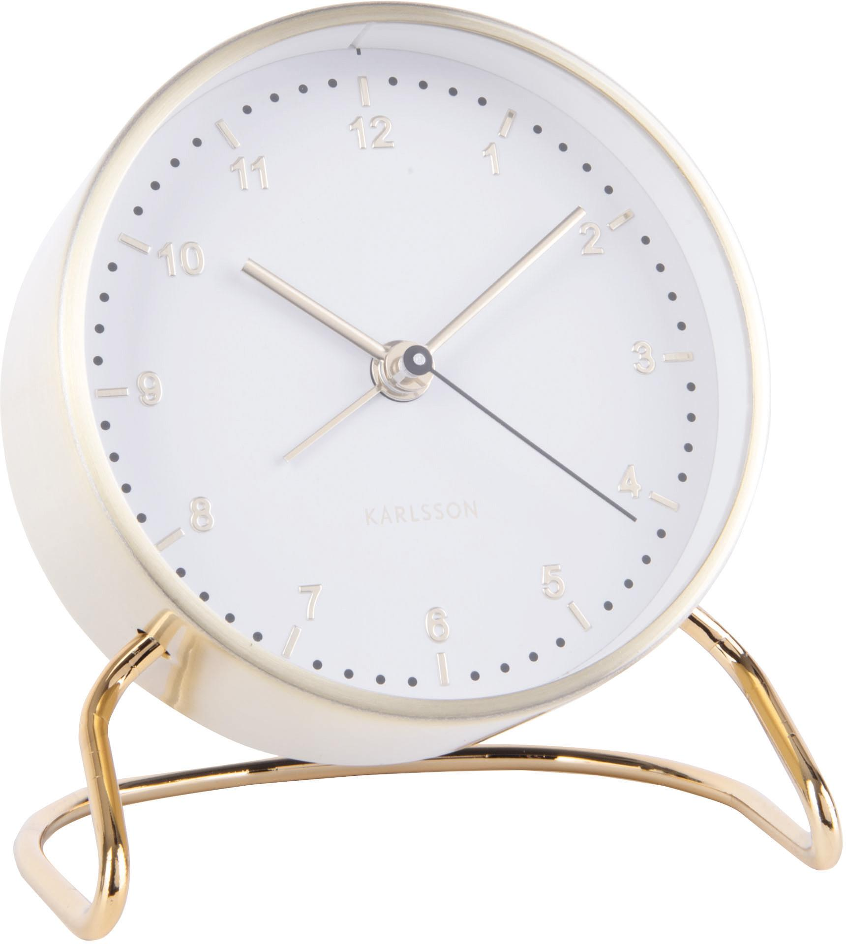 Despertador Stylish, Metal recubierto, Blanco, latón, Ø 9 cm