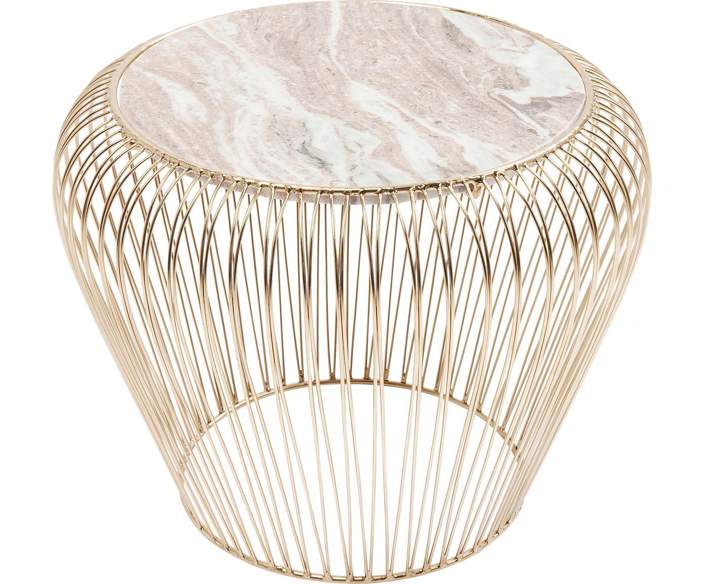 Mesa auxiliar de mármol XS Beam, Estructura: metal, latón, Tablero: mármol, Gris, Ø 43 x Al 35 cm