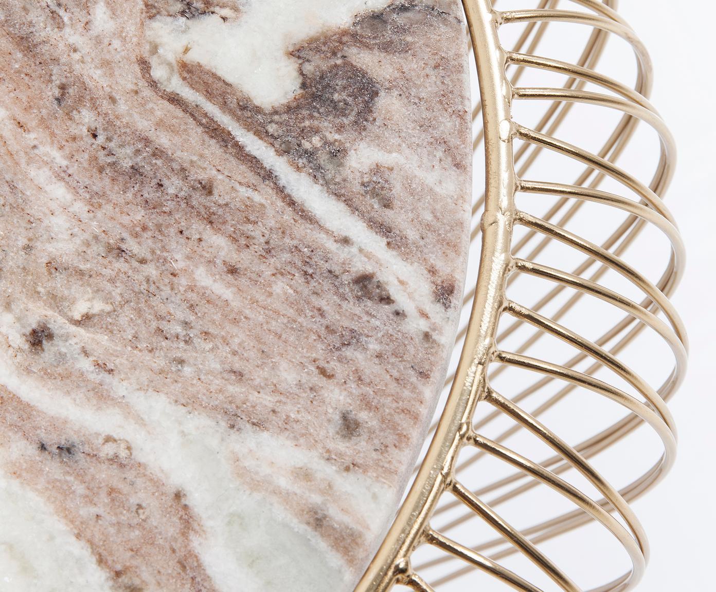Mały stolik pomocniczy z marmurowym blatem Beam, Stelaż: metal mosiądzowany, Blat: marmur, Szary, Ø 43 x W 35 cm