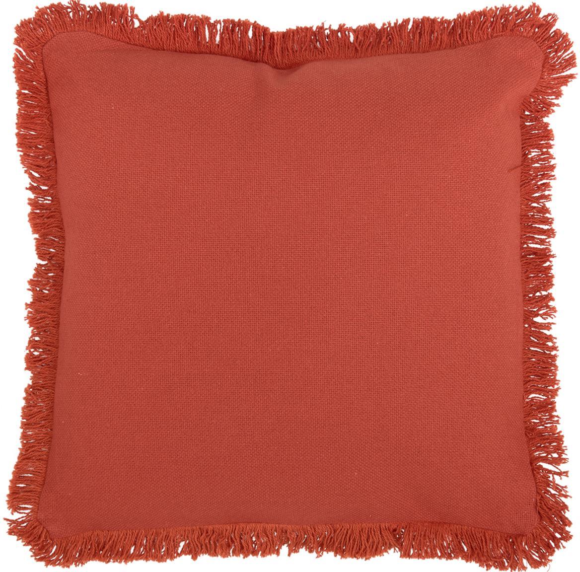 Cojín con flecos Prague, con relleno, Parte delantera: 100%algodón de tejido gr, Parte trasera: 100%algodón, Terracota, An 40 x L 40 cm