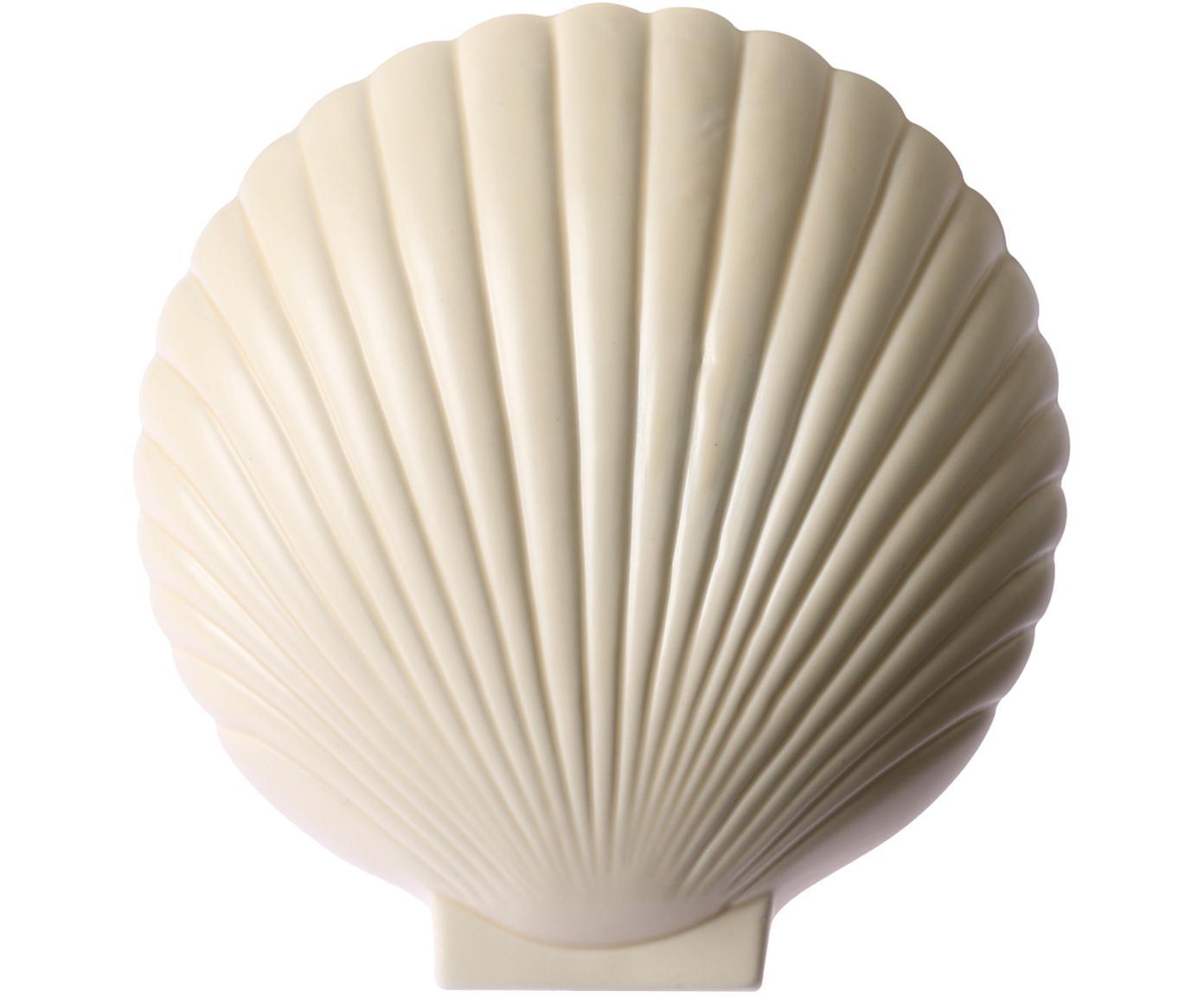 Wandlamp Shell met stekker, Keramiek, Pastel geel, 19 x 21 cm