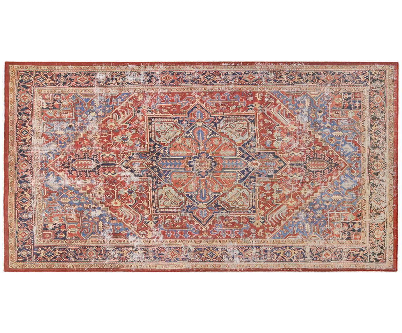 Chenille vloerkleed Paulo in vintage stijl, Bovenzijde: chenille draad (polyester, Rood, blauw, beige, 80 x 150 cm