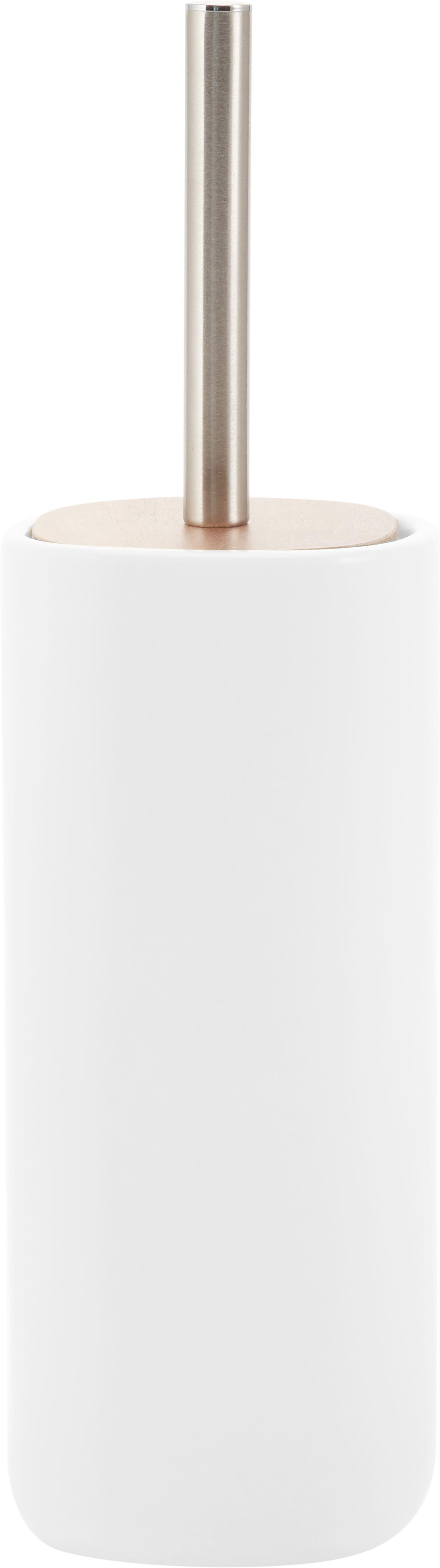 Escobilla de baño Wili, Recipiente: cerámica, Asa: acero inoxidable cromado, Blanco, madera de acacia, Ø 11 x Al 37 cm