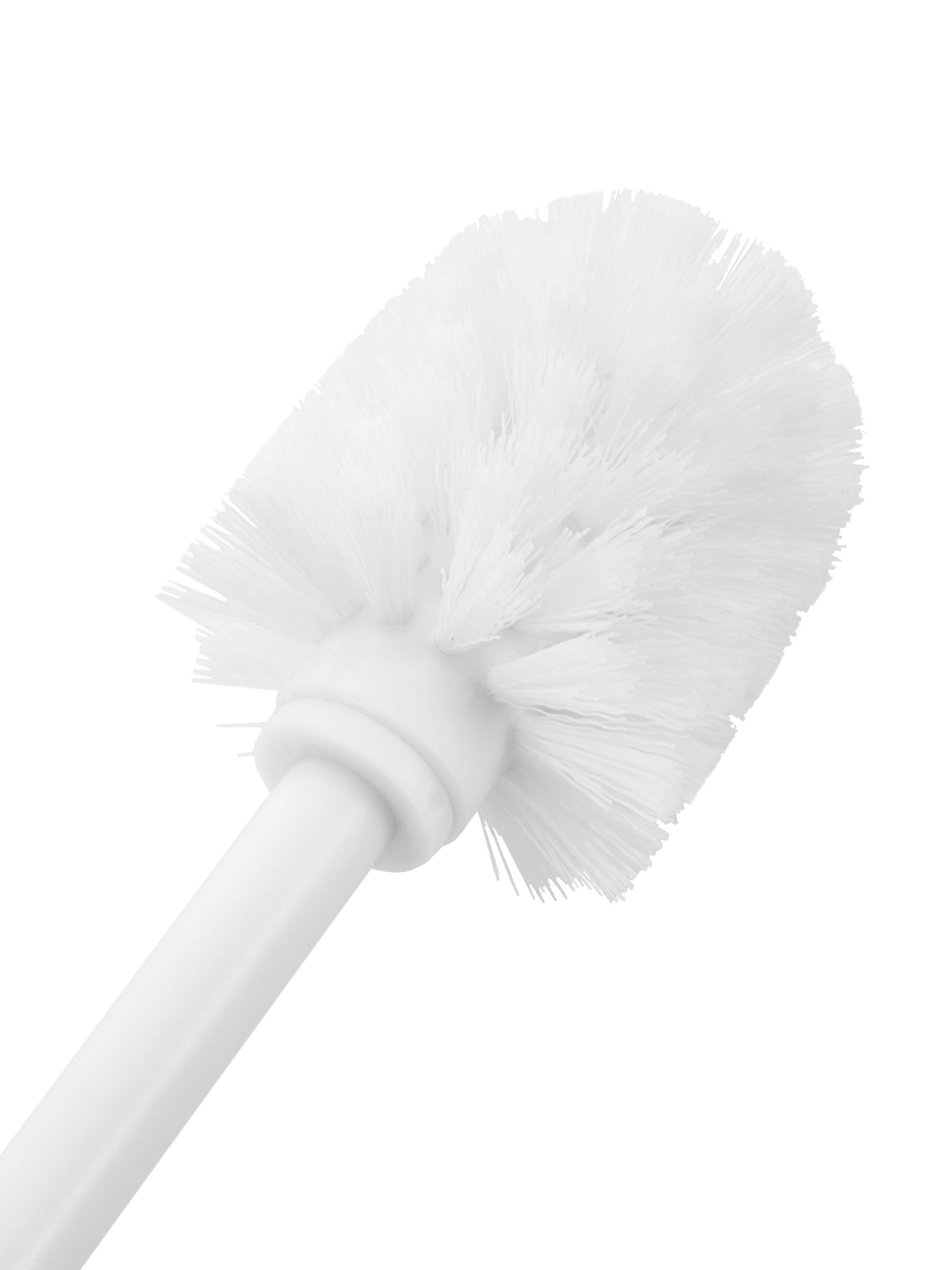 Toilettenbürste Wili mit Akazienholz-Abdeckung, Behälter: Keramik, Griff: Edelstahl, verchromt, Weiß, Akazienholz, Ø 11 x H 37 cm