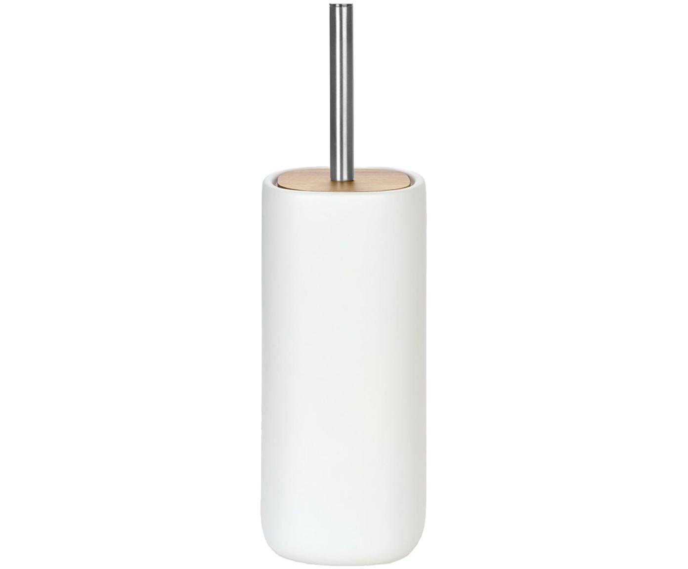 Toiletborstel Wili met acaciahouten deksel, Houder: keramiek, Wit, acaciahoutkleurig, Ø 11 x H 37 cm