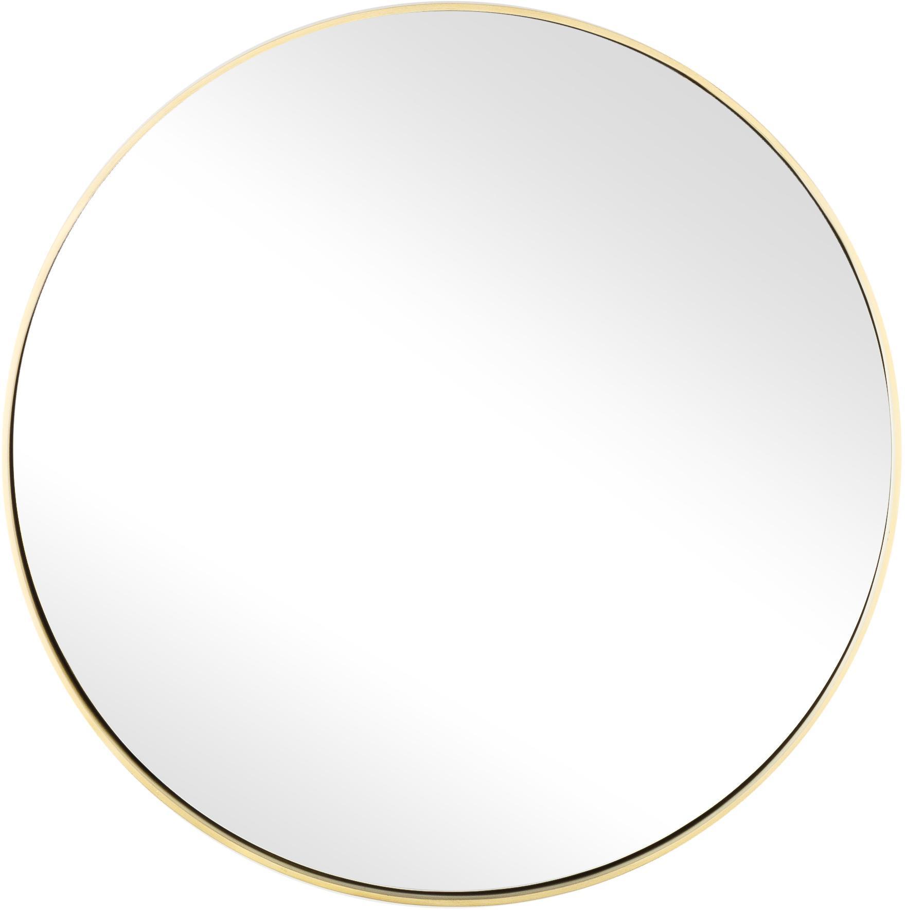 Ronde wandspiegel Ada met goudkleurige lijst, Frame: vermessingd ijzer, Geborsteld messingkleurig, Ø 40 cm