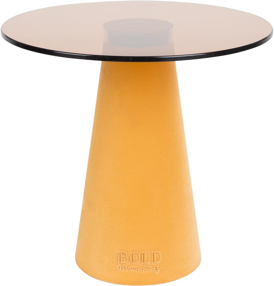 Beistelltisch Leader Of The Fanclub mit Glasplatte, Tischplatte: Hartglas, Fuß: Polyresin, beschichtet, A, Gelb, Ø 40 x H 39 cm
