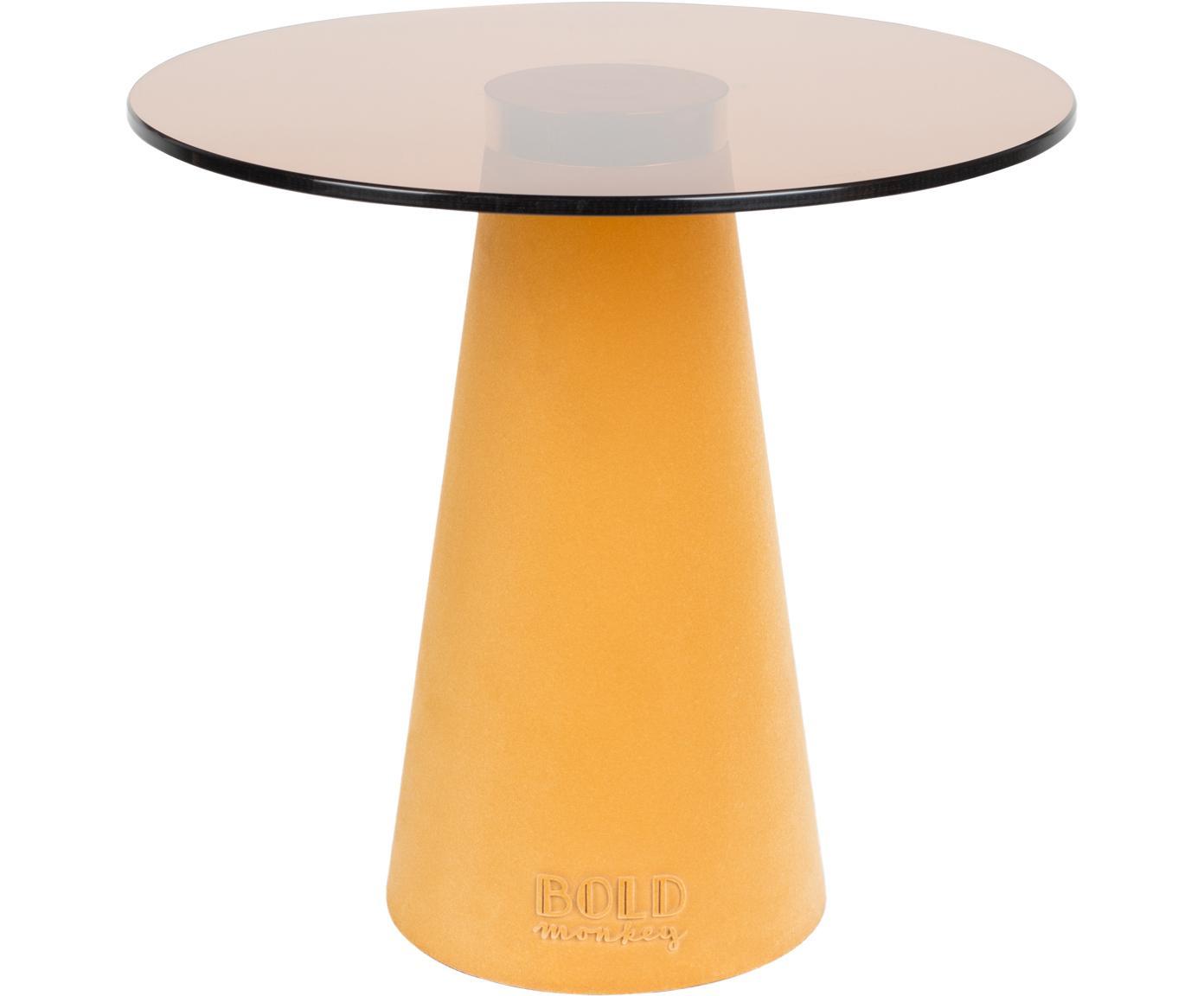 Stolik pomocniczy ze szklanym blatem Leader Of The Fanclub, Blat: szkło hartowane, Noga: poliresing powlekany, alu, Żółty, Ø 40 x W 39 cm
