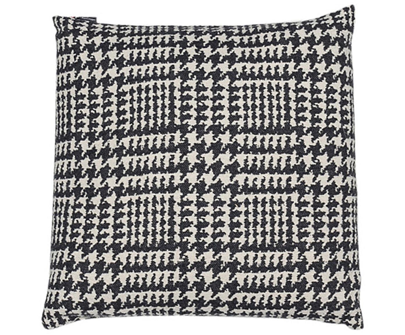 Kissenhülle Glencheck mit Hahnentritt Muster, Bezug: 85% Baumwolle, 8% Viskose, Schwarz, Weiss, 50 x 50 cm