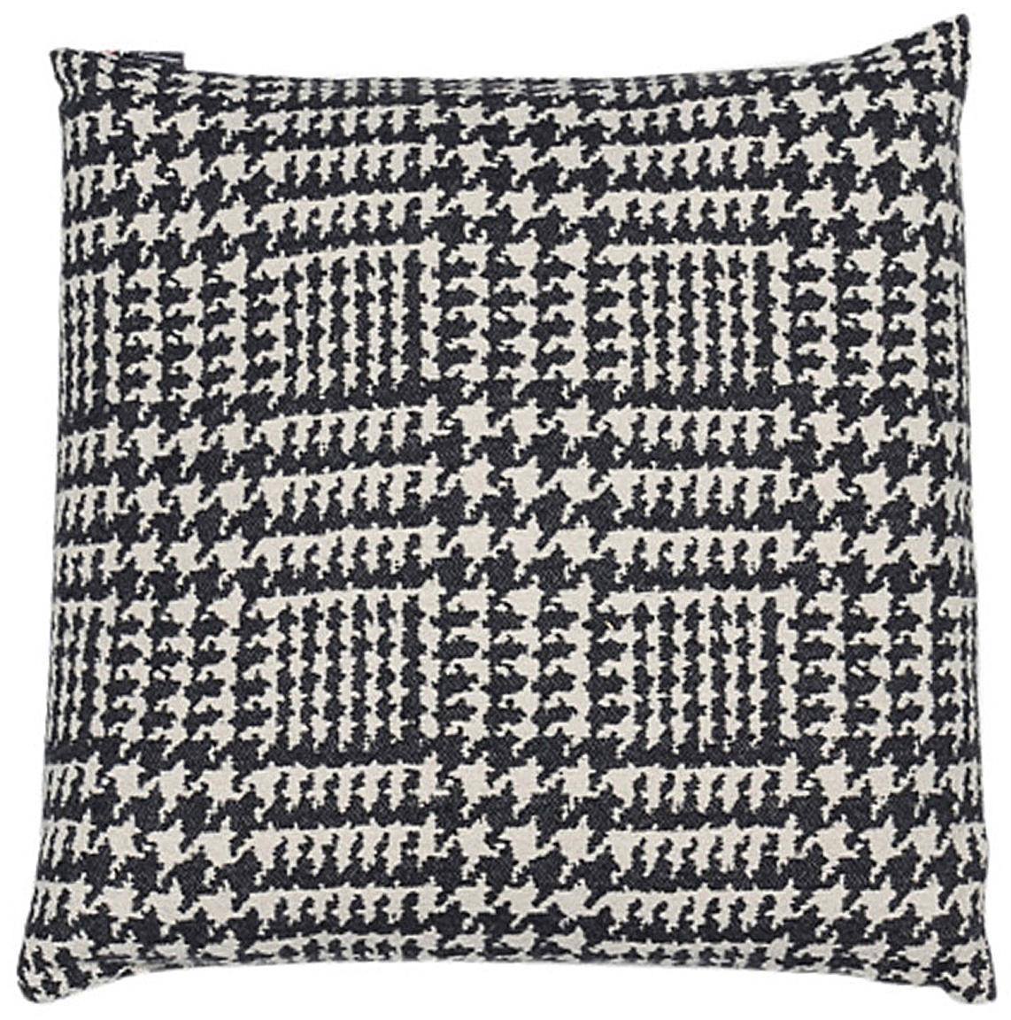 Kissenhülle Glencheck mit Hahnentritt Muster, Bezug: 85% Baumwolle, 8% Viskose, Schwarz, Weiß, 50 x 50 cm